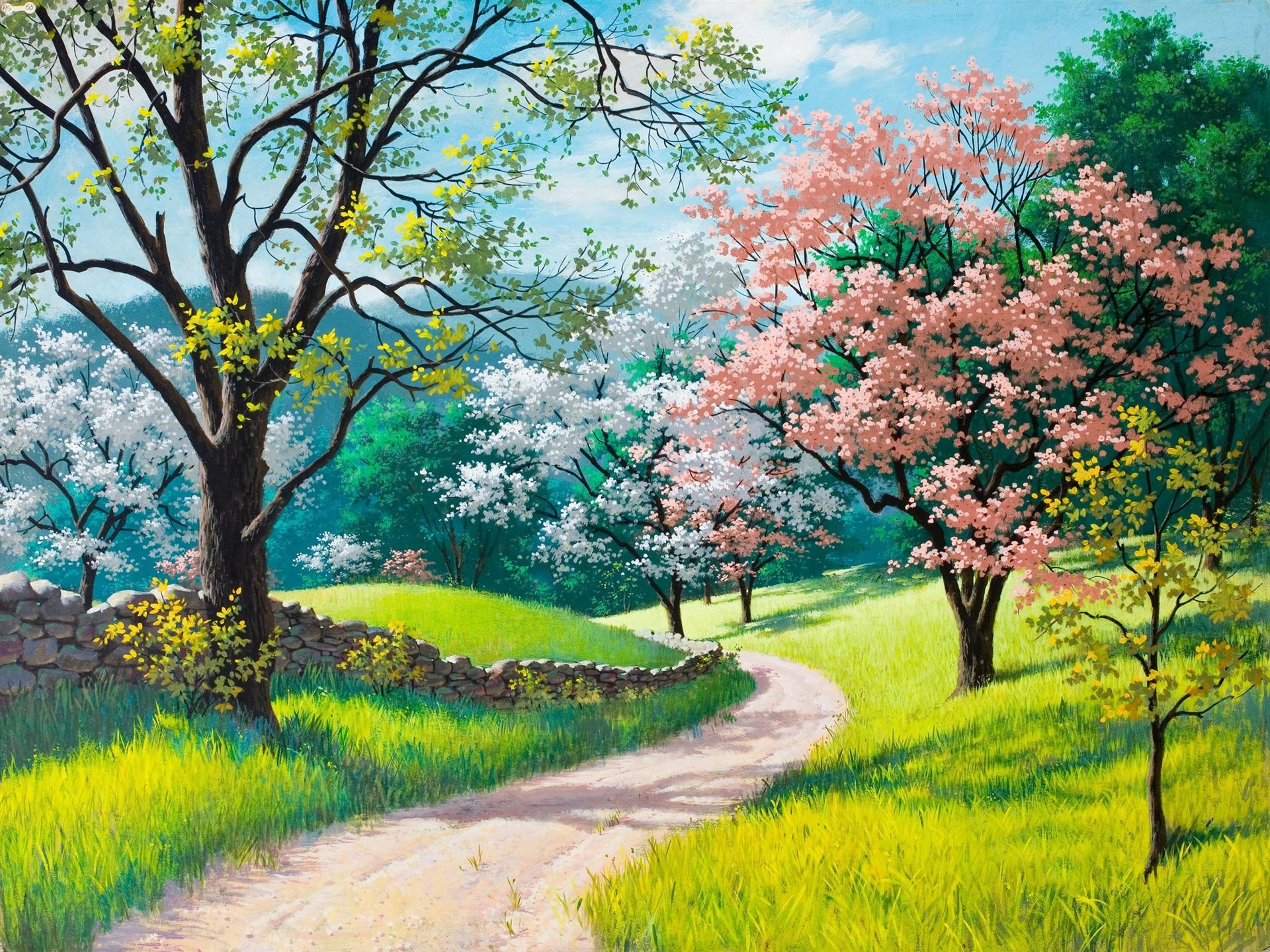 Adquiere Aqui Estos Fondos De Pantalla Con Flores Hermosas: Fondos De Pantalla Hermosa Pintura, Primavera, Flores