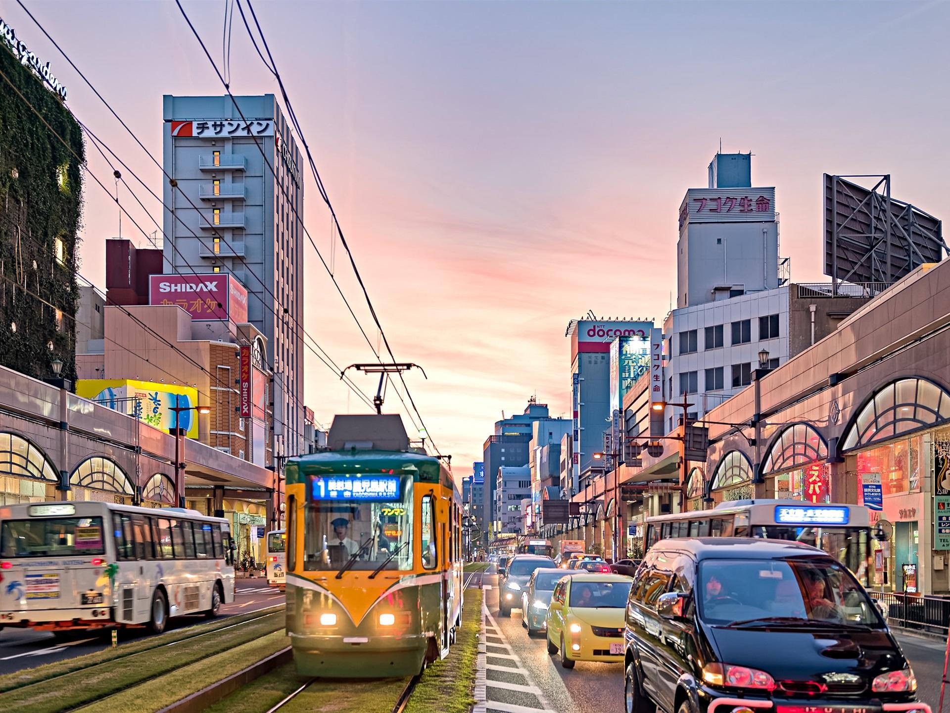 Wallpaper Kagoshima City Japan Dusk Street Road Buildings