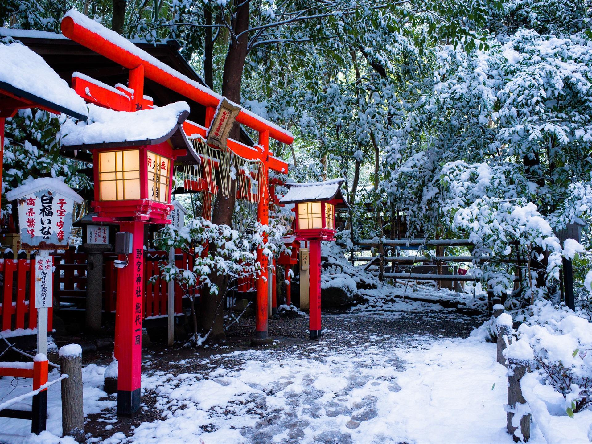 壁紙 神社 鳥居ゲート 京都 日本 冬 雪 木 1920x1440 Hd 無料の