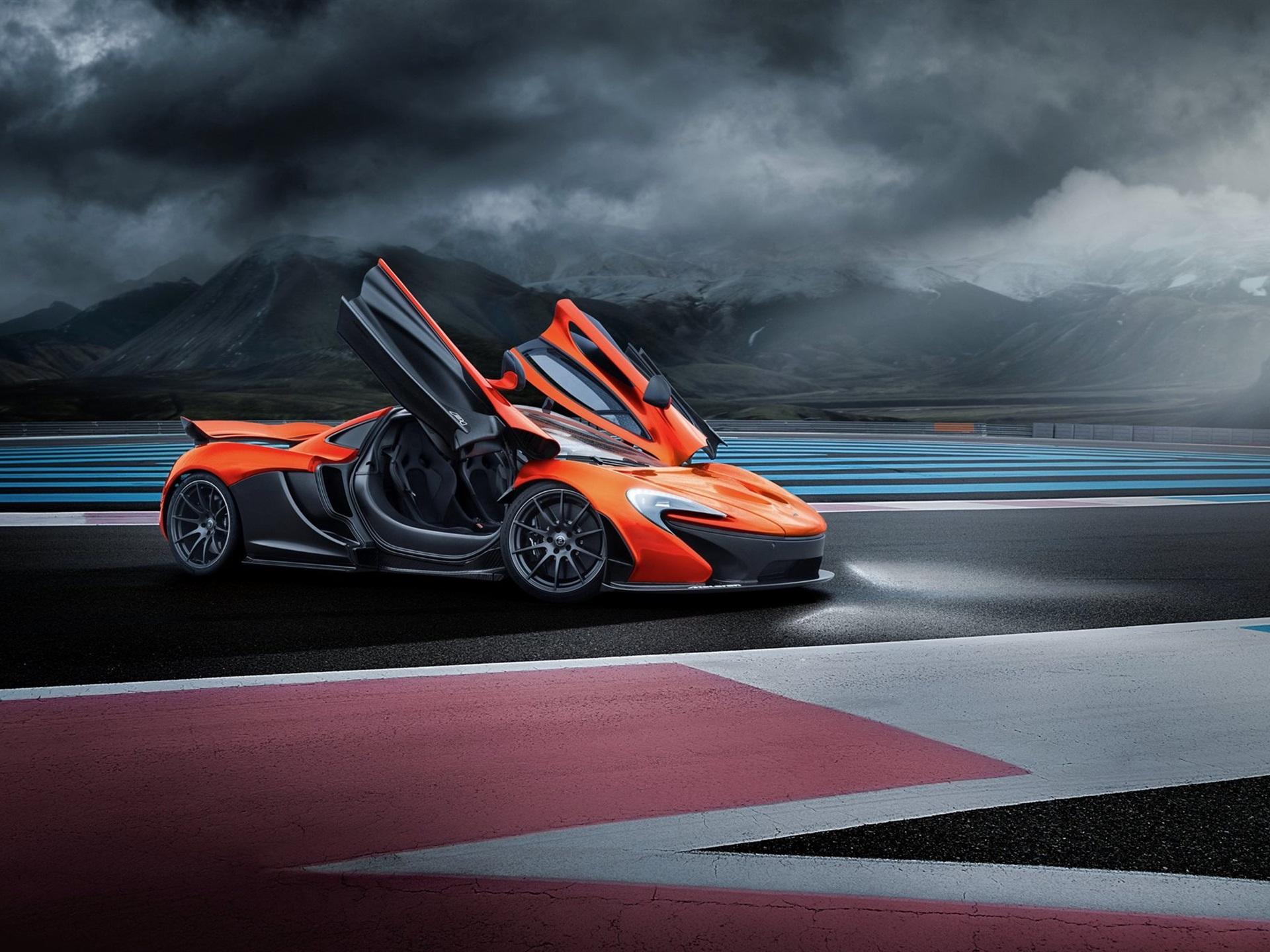 Wallpaper McLaren P1 orange supercar doors opened HD