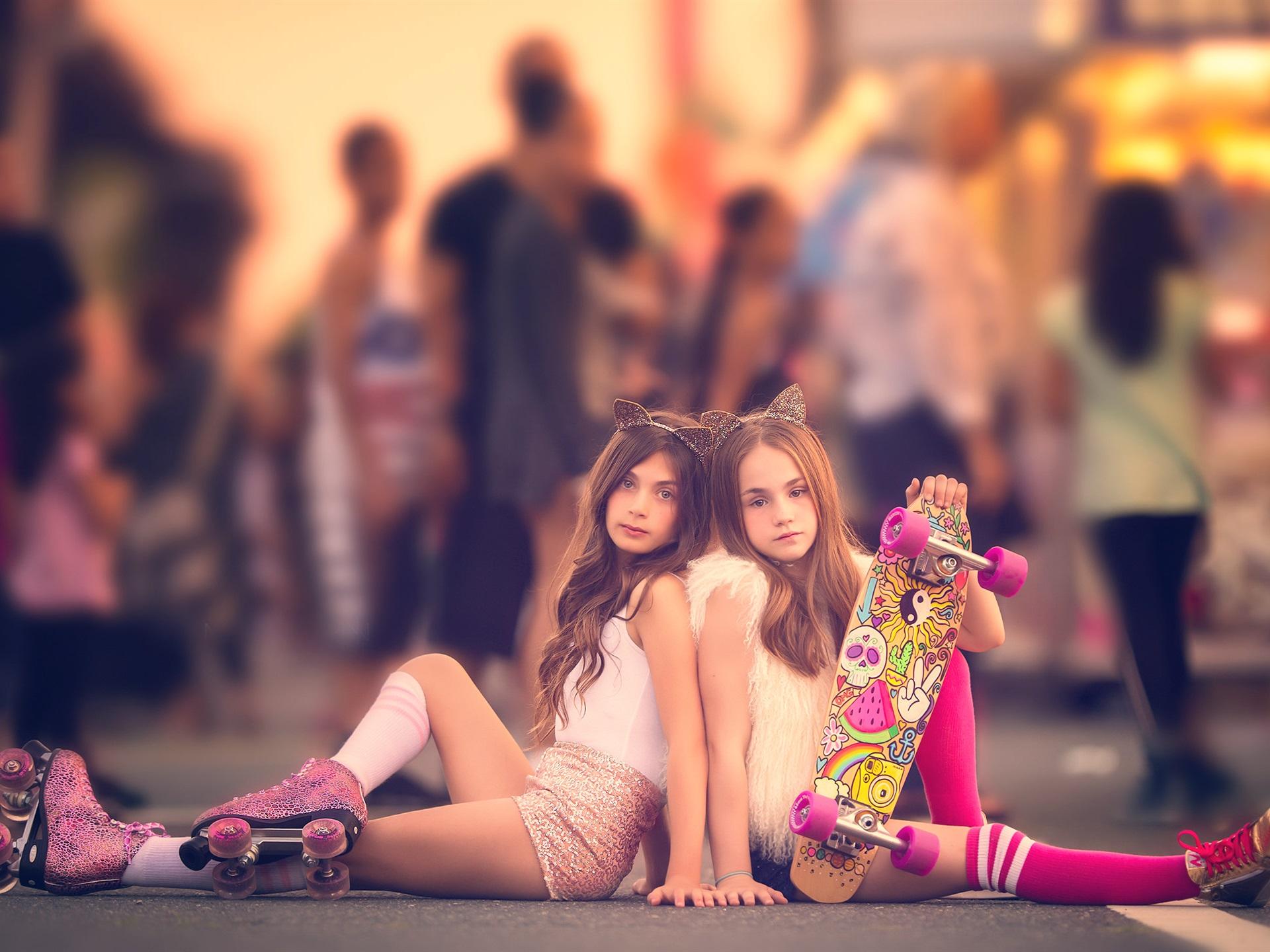 wallpaper two lovely little girls, child, street 1920x1440 hd