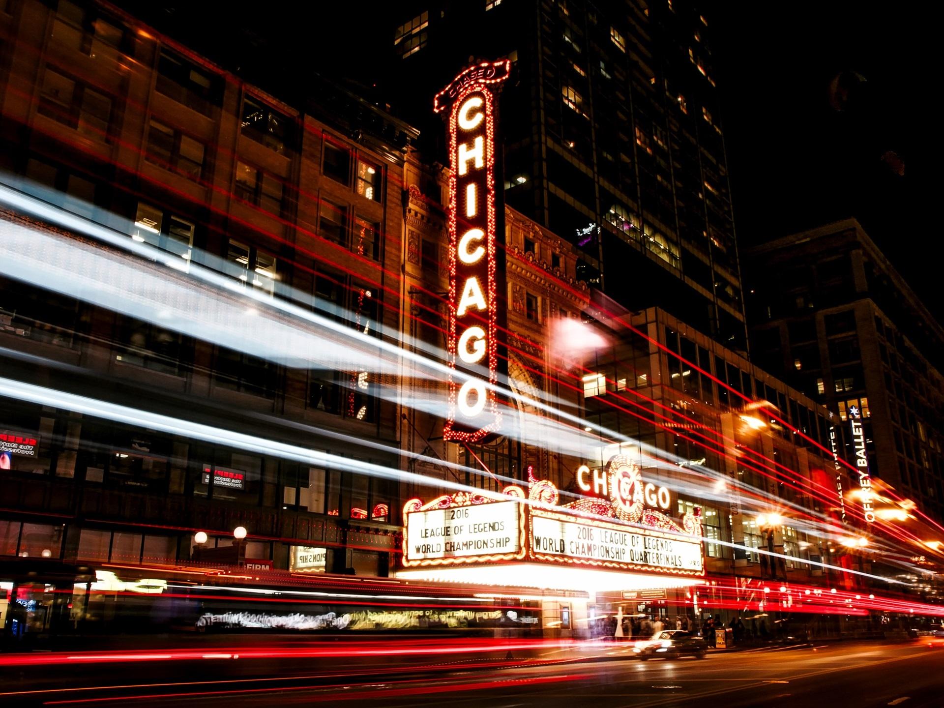 Wallpaper Chicago Illinois Usa City Night Street Lights