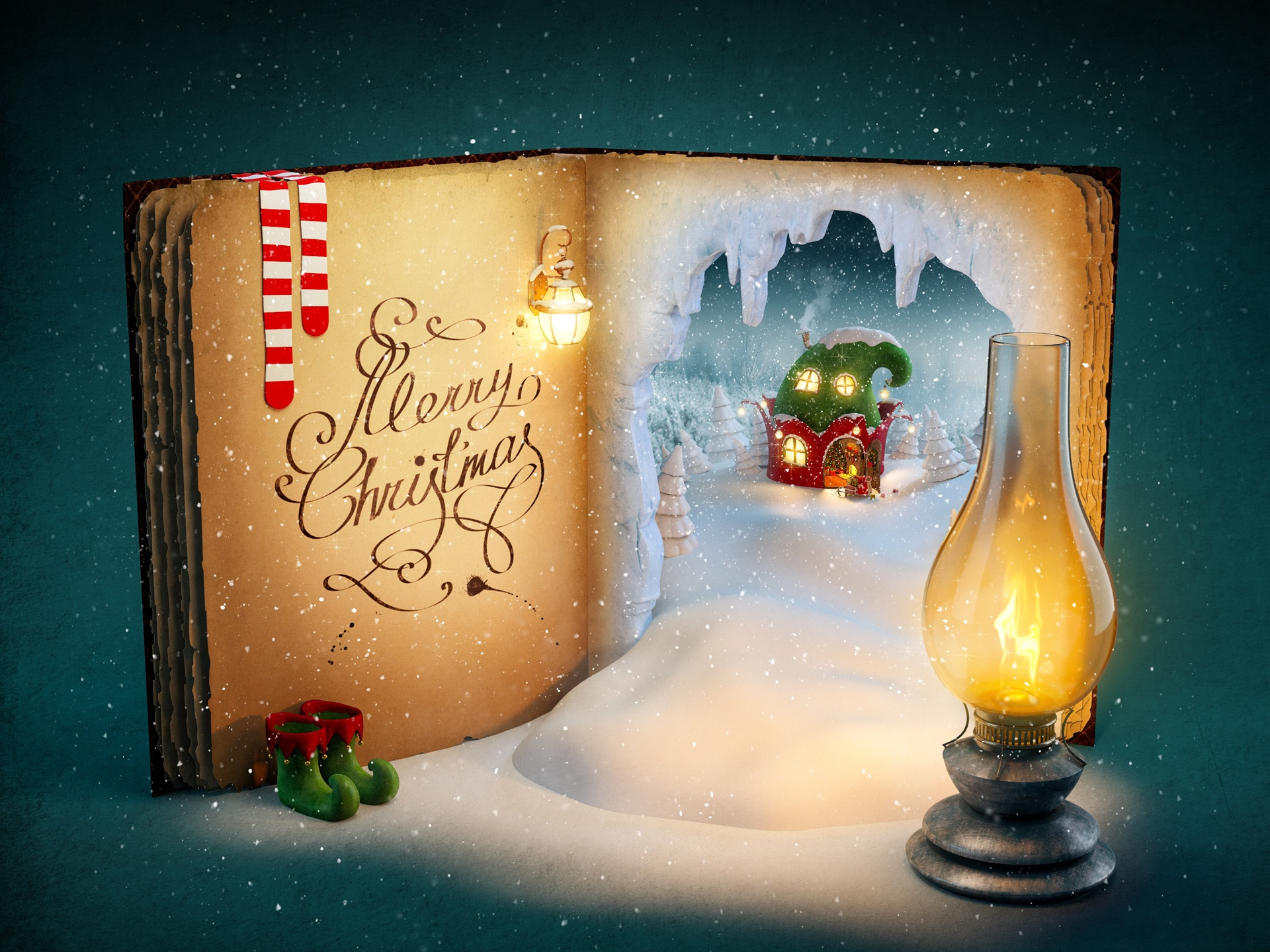 fonds d 39 cran joyeux no l livre magique neige lumi res. Black Bedroom Furniture Sets. Home Design Ideas