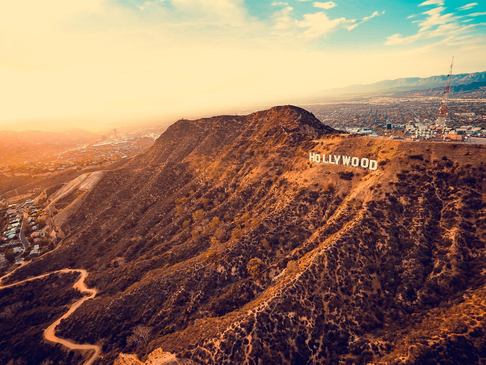 壁紙 ロサンゼルス ハリウッド アメリカ 山 都市 19x1440 Hd 無料のデスクトップの背景 画像