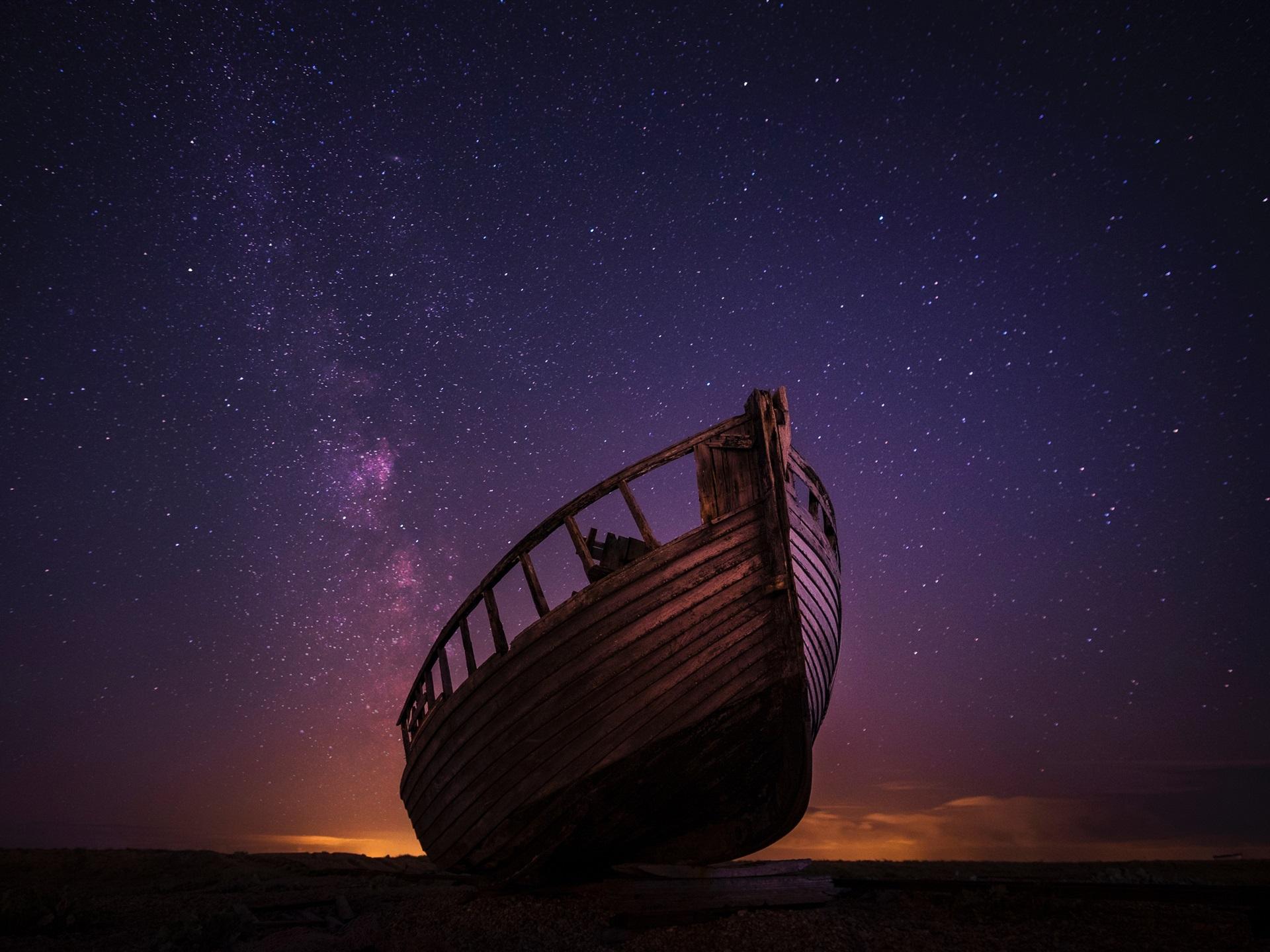 Wallpaper wood boat starry night sky 3840x2160 uhd 4k - Starry sky 4k ...