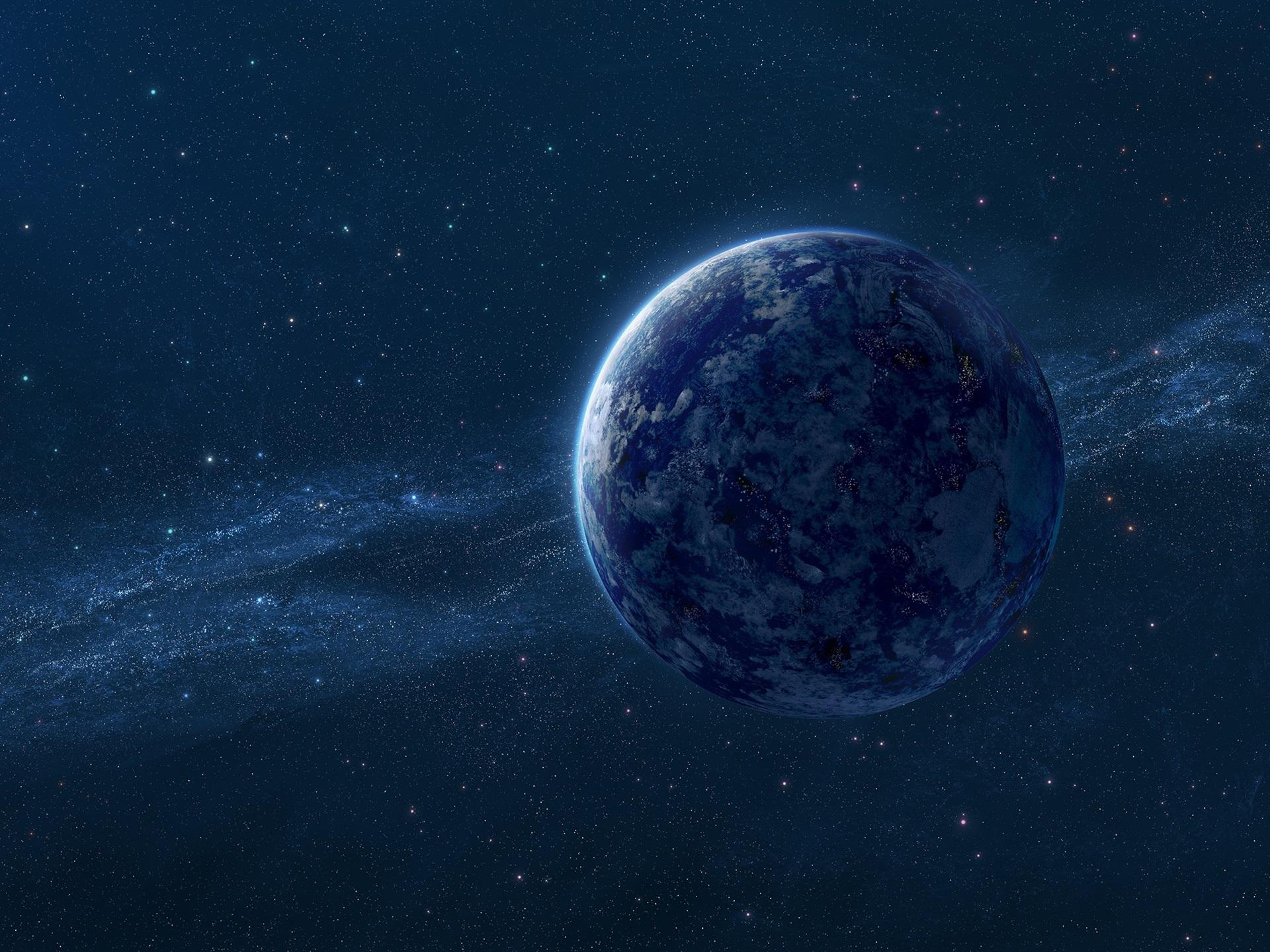 壁紙 ブルー アース 天の川 星 デジタル ユニバース 2560x1600 Hd
