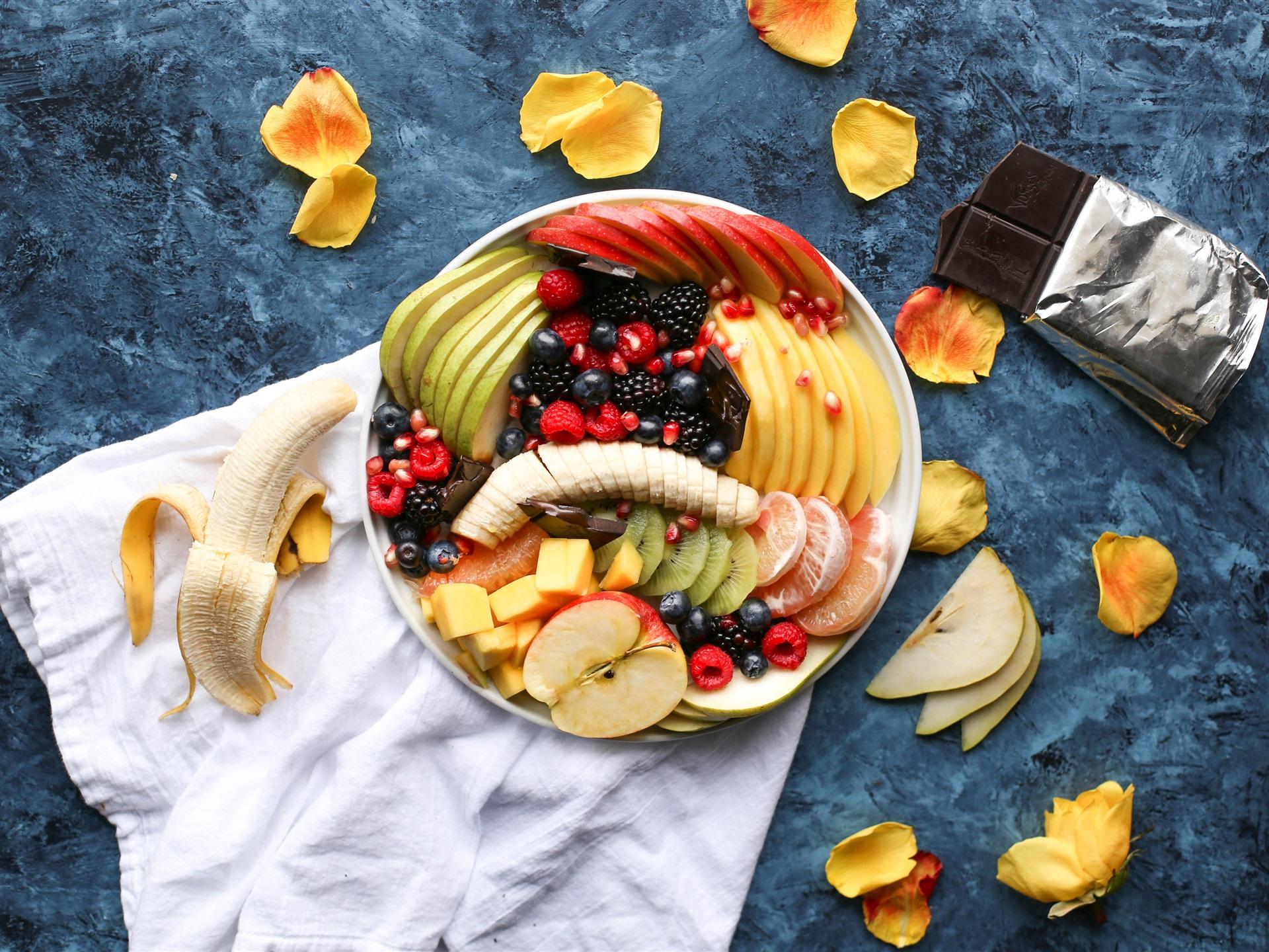 Fondos De Pantalla De Chocolates: Postre De Frutas, Rodajas, Pétalos, Chocolate Fondos De