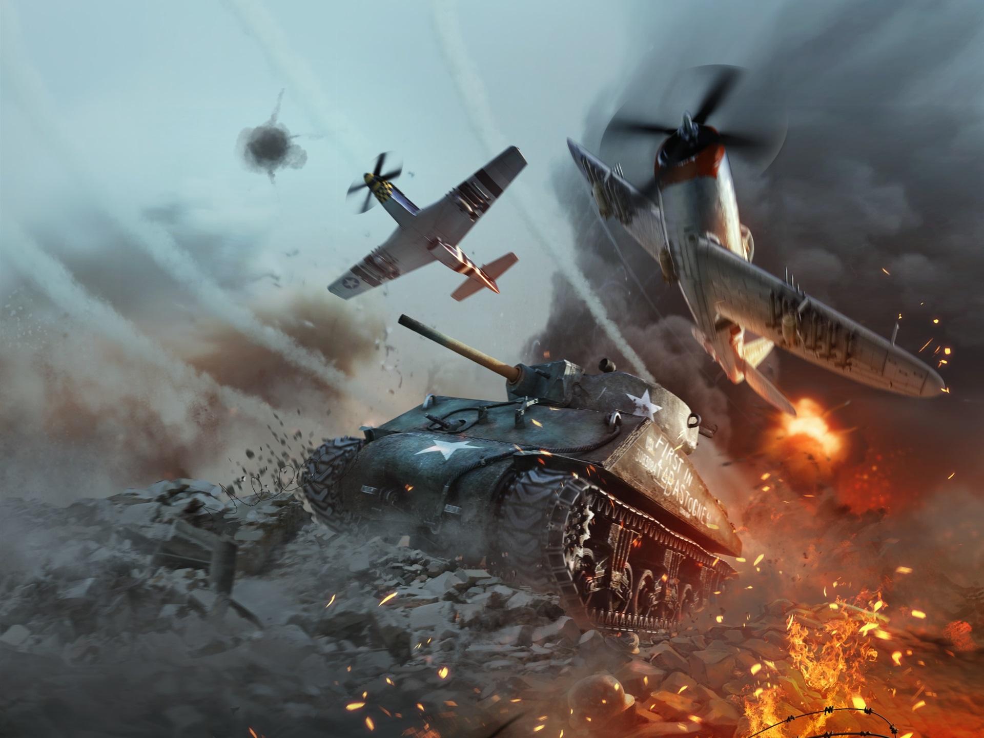 Fondos De Pantalla War Thunder Tanque Y Luchador Batalla