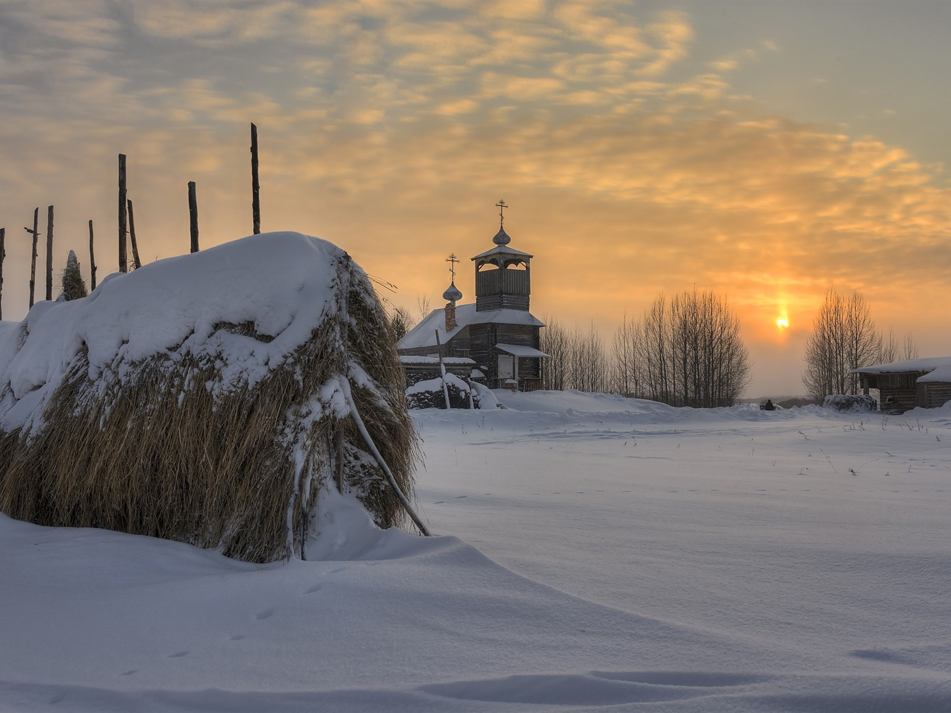 Wallpaper Arkhangelsk Oblast Russian Church Village Snow