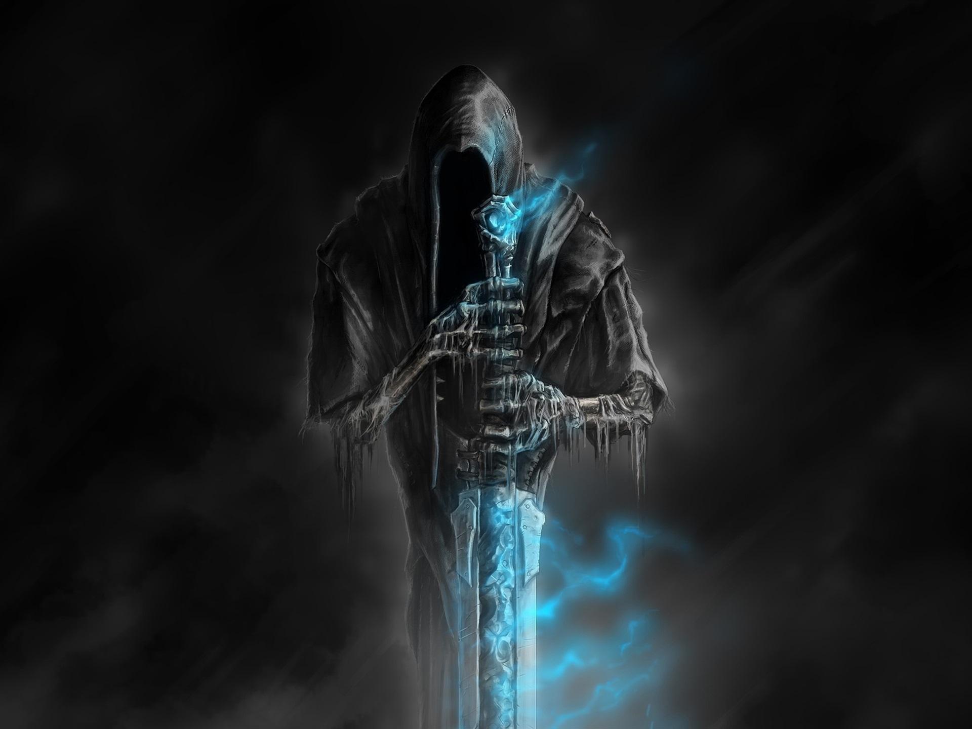 壁紙 ヘラルドへようこそ 恐怖 死 剣 闇 青い炎 1920x1440 Hd