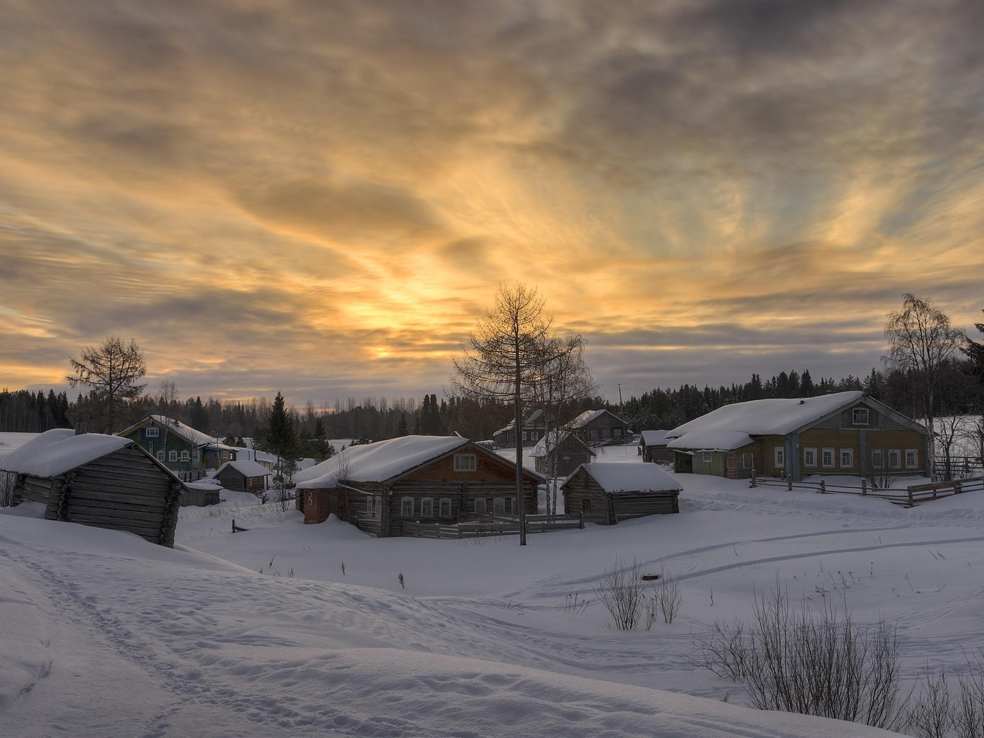 Winter Snow Village Dusk Arkhangelsk Oblast Russia