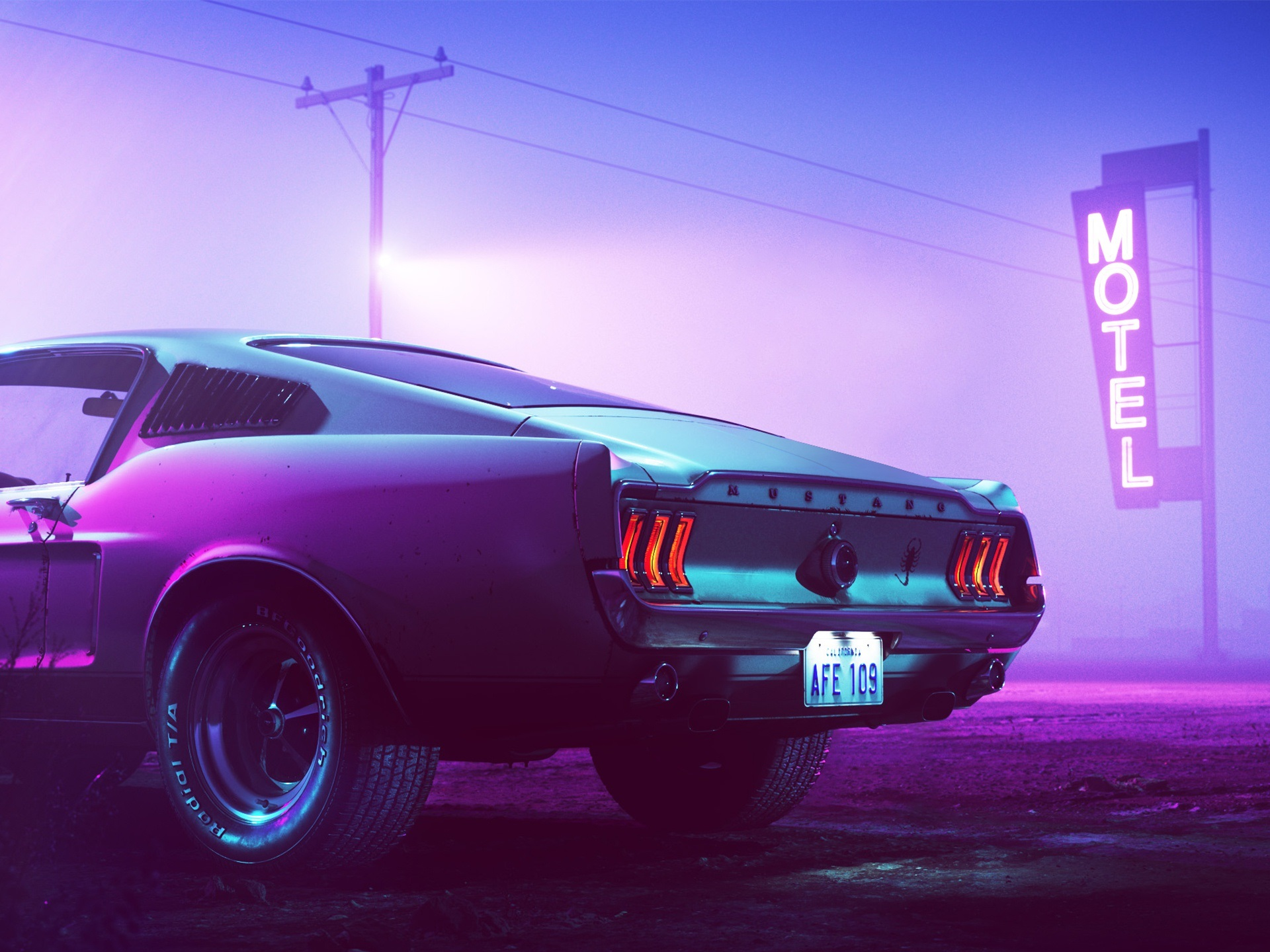 Wallpaper 1969 Ford Mustang Car Back View Motel Neon Night