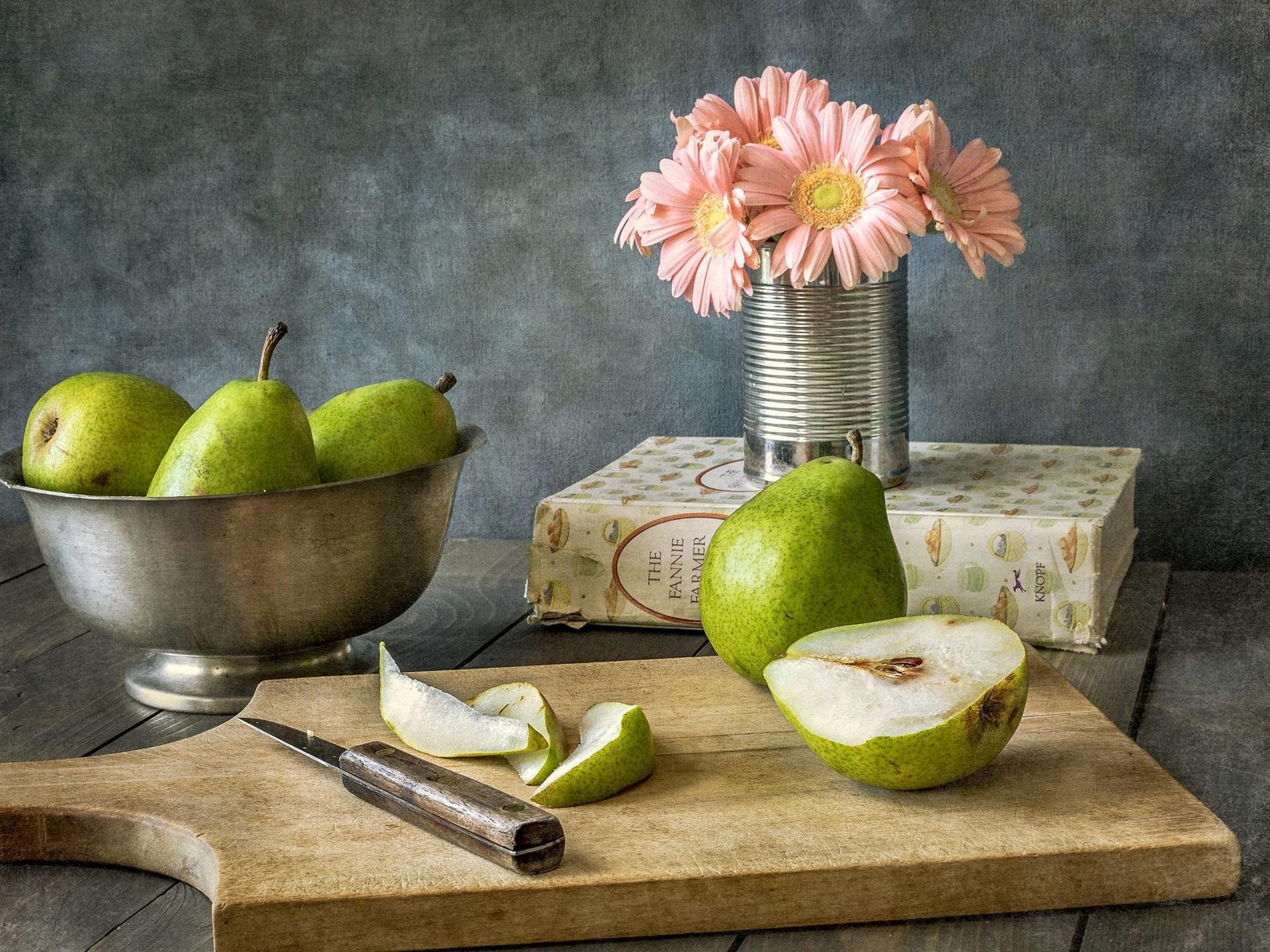 Fondos de pantalla peras fruta flores cuchillo for Cuchillo fruta