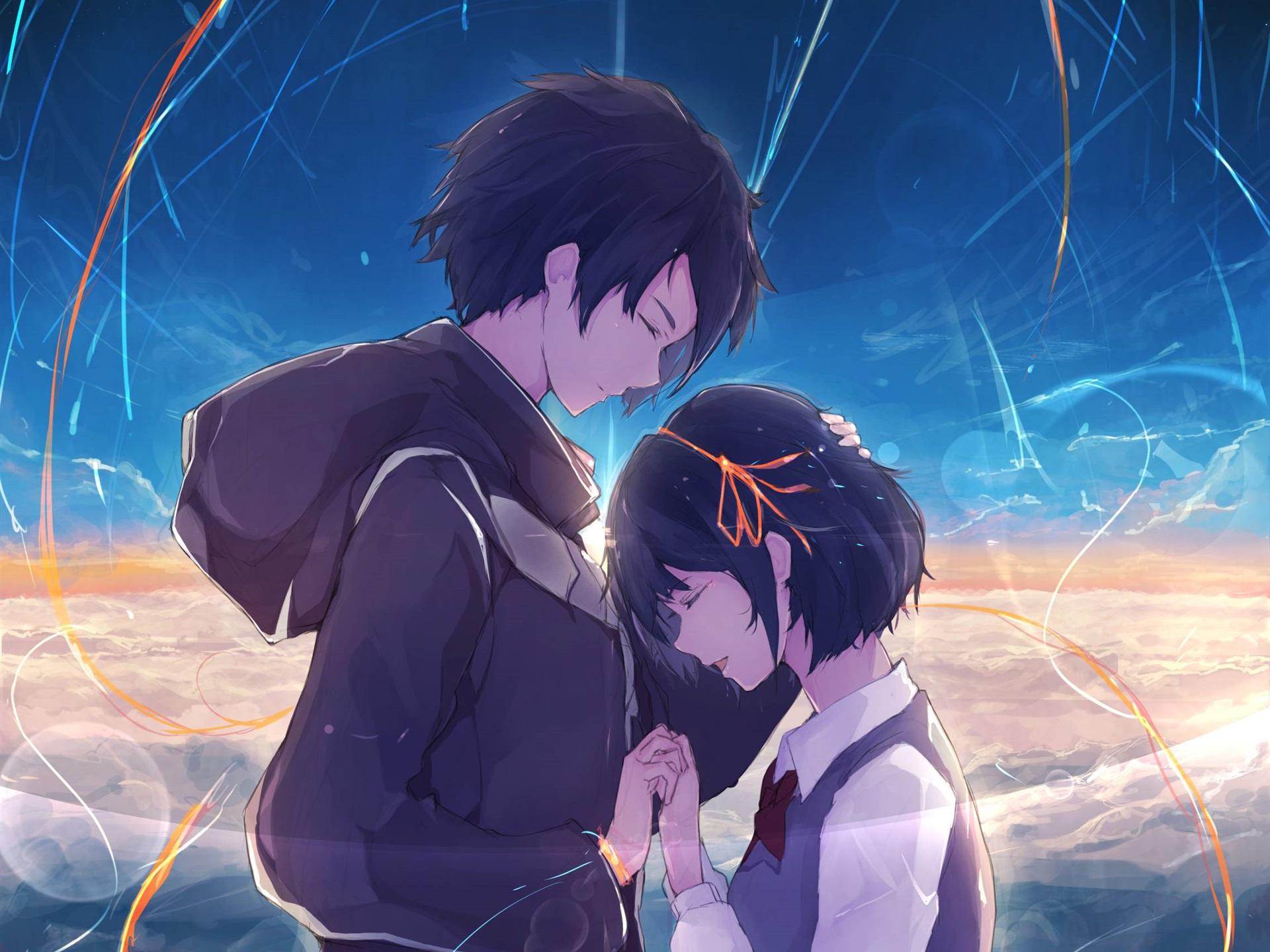 anime manga boy and girl: 배경 화면 너의 이름은., 행복, 소년과 소녀, 애니메이션 1920x1440 HD 그림, 이미지