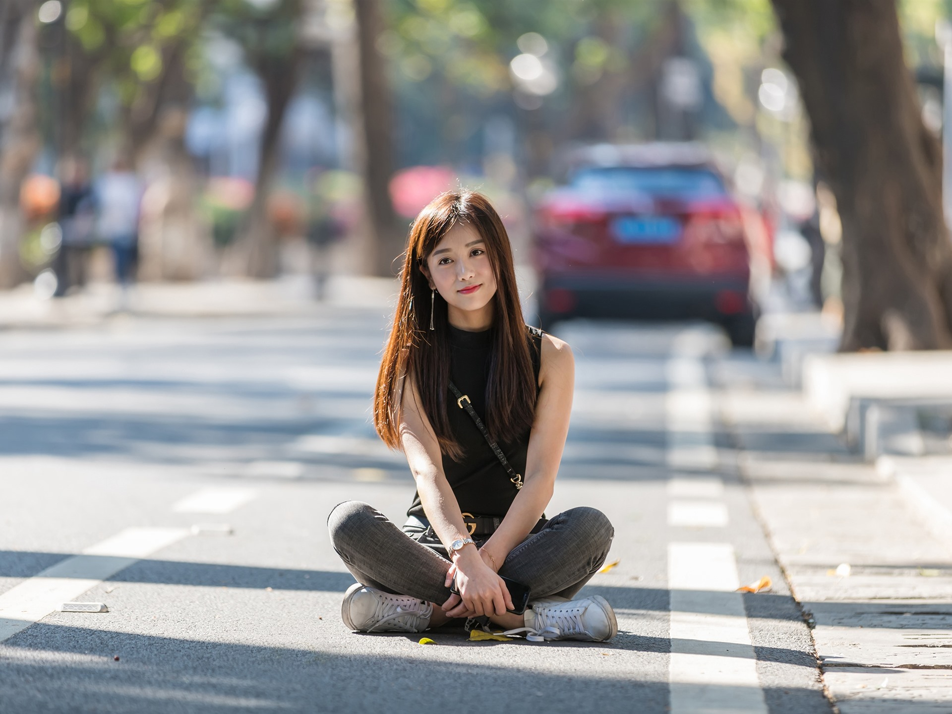 Wallpaper Long Hair Chinese Girl Sit On Ground 1920x1440 Hd Picture Image