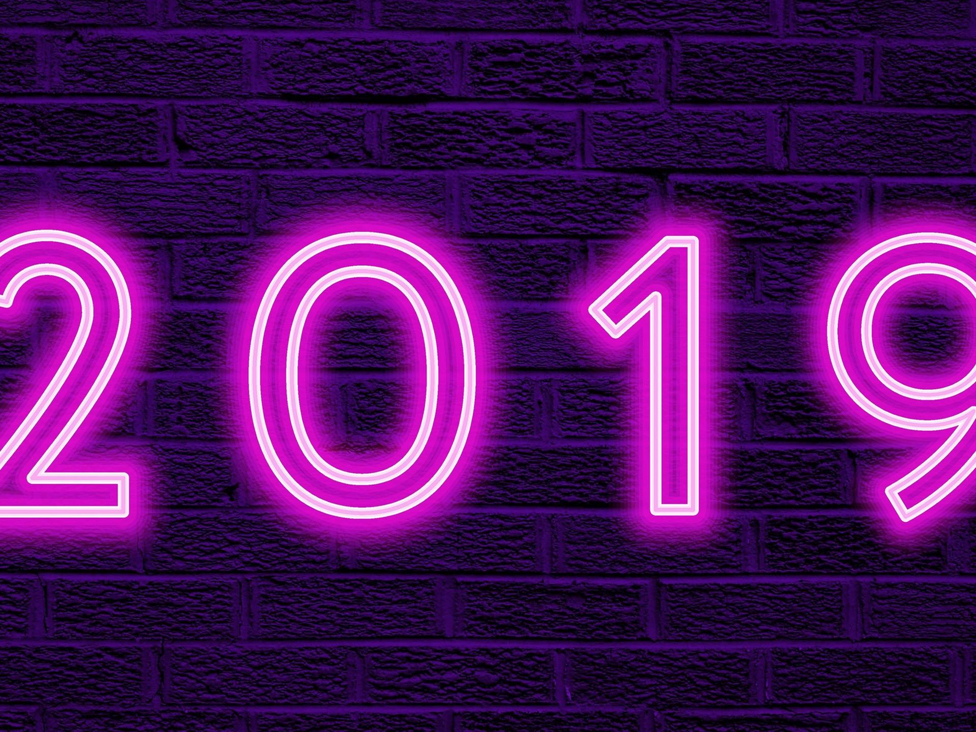 Fondos De Pantalla Feliz Año Nuevo 2019, Luces Moradas