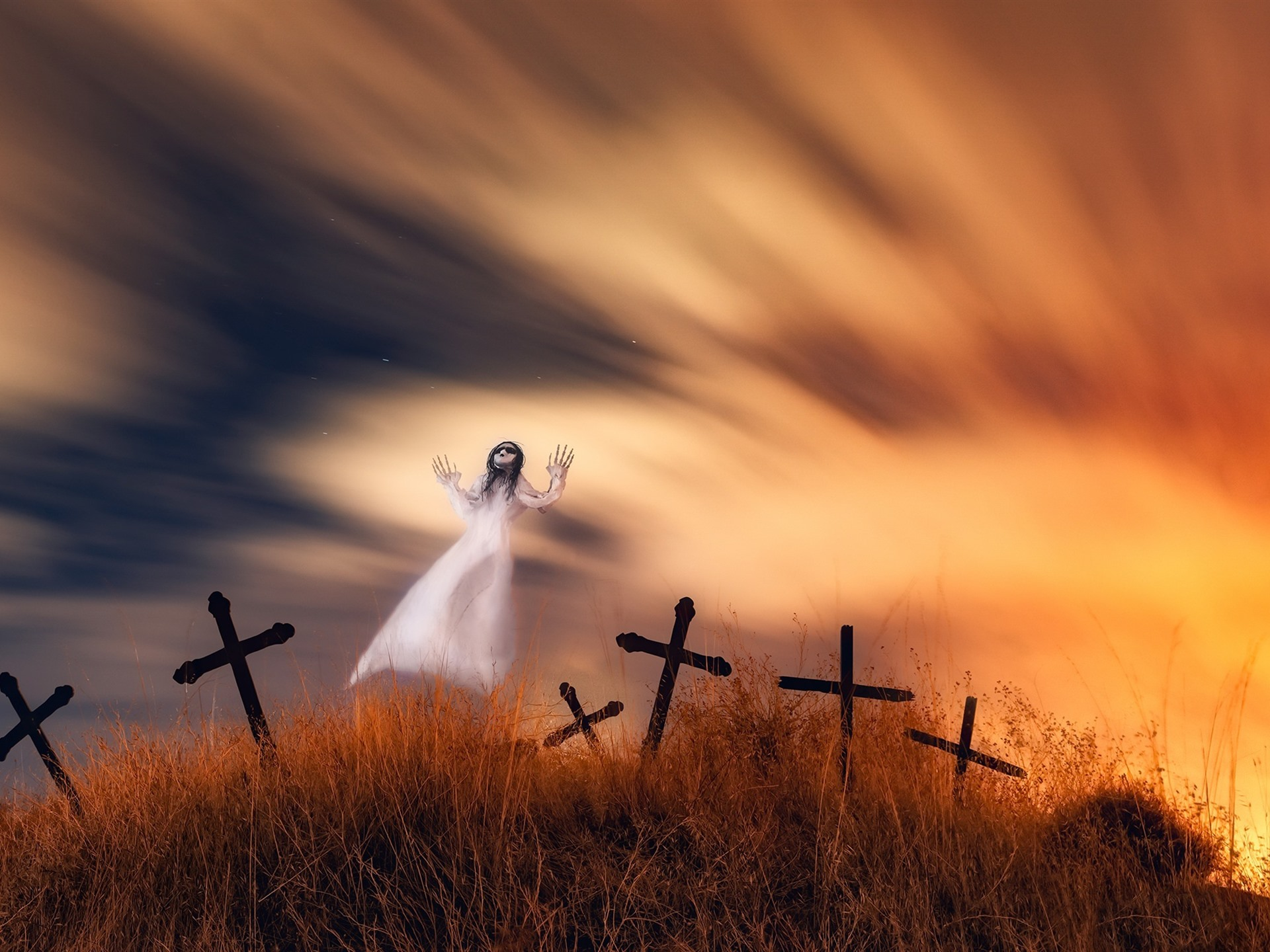 Wallpaper Ghost Cemetery Cross Horror 1920x1440 Hd Picture Image