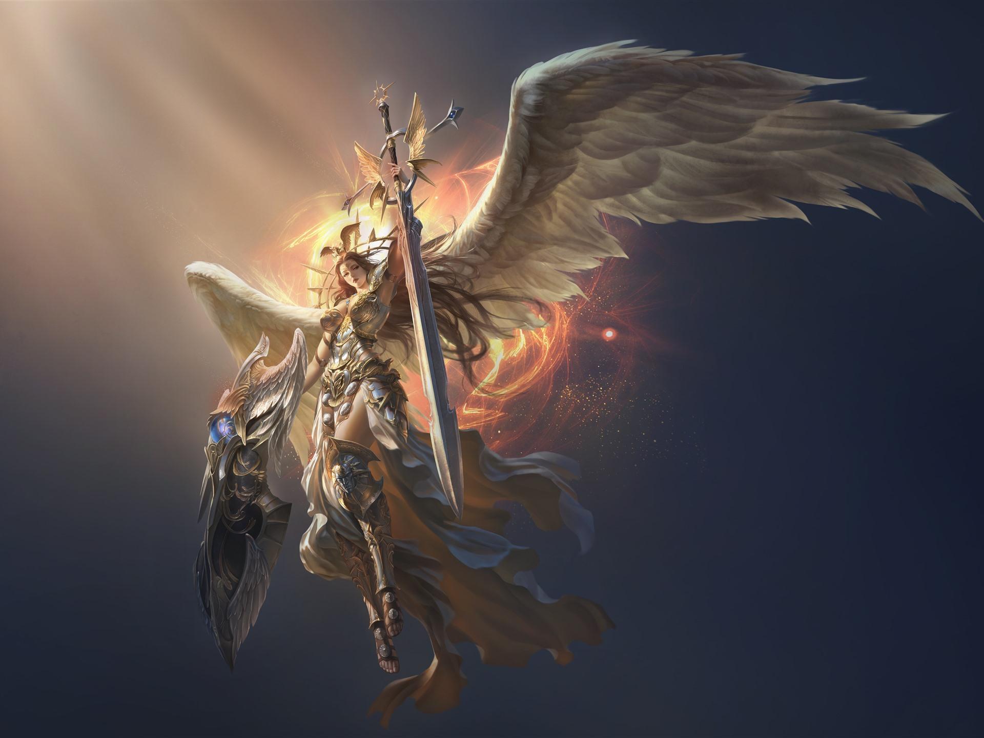 Wallpaper League Of Angels Beautiful Angel Wings Sword