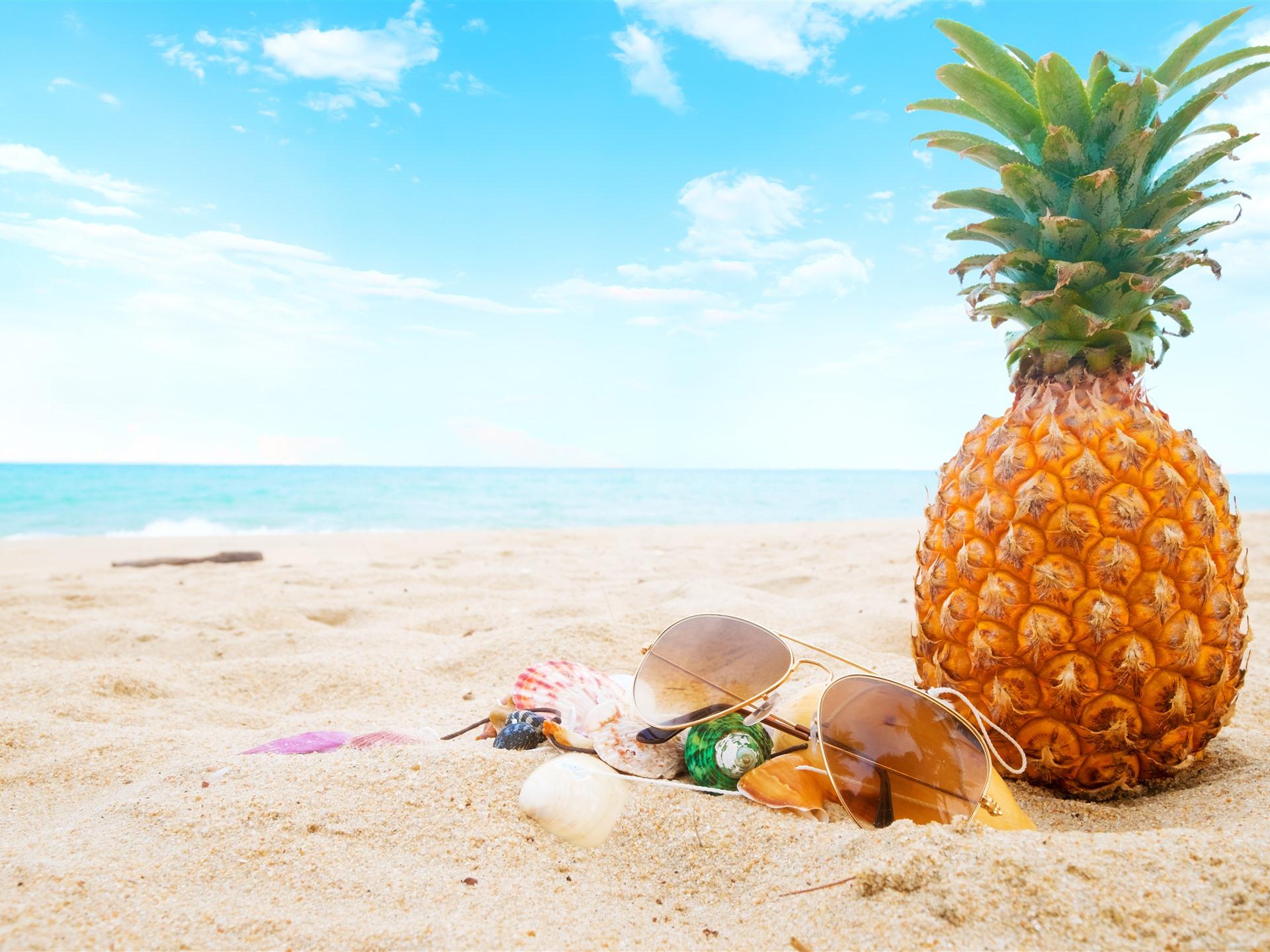wallpaper summer  beach  pineapple  sunglasses  shell