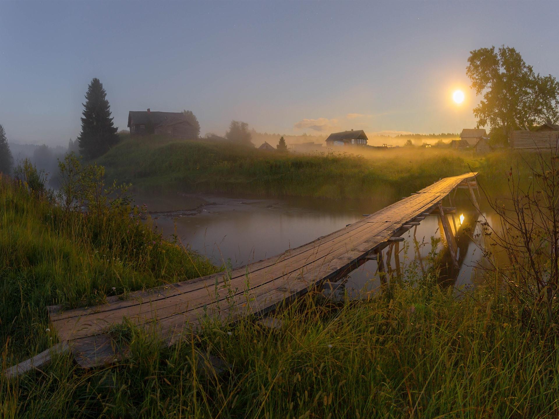 Картинки дом в дали и мост через речку
