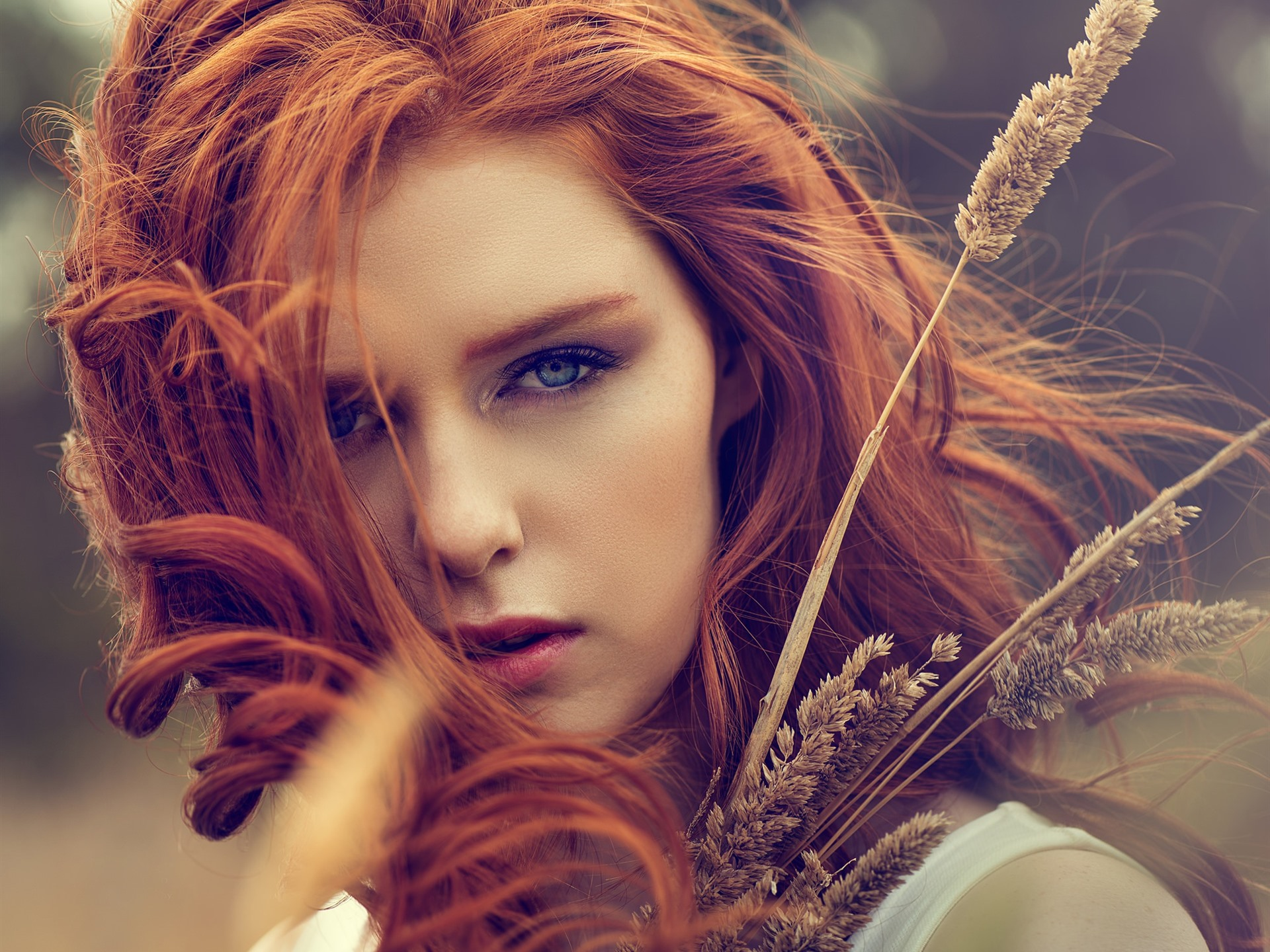 Wallpaper Red Hair Girl Blue Eyes Grass 1920x1440 Hd Picture Image