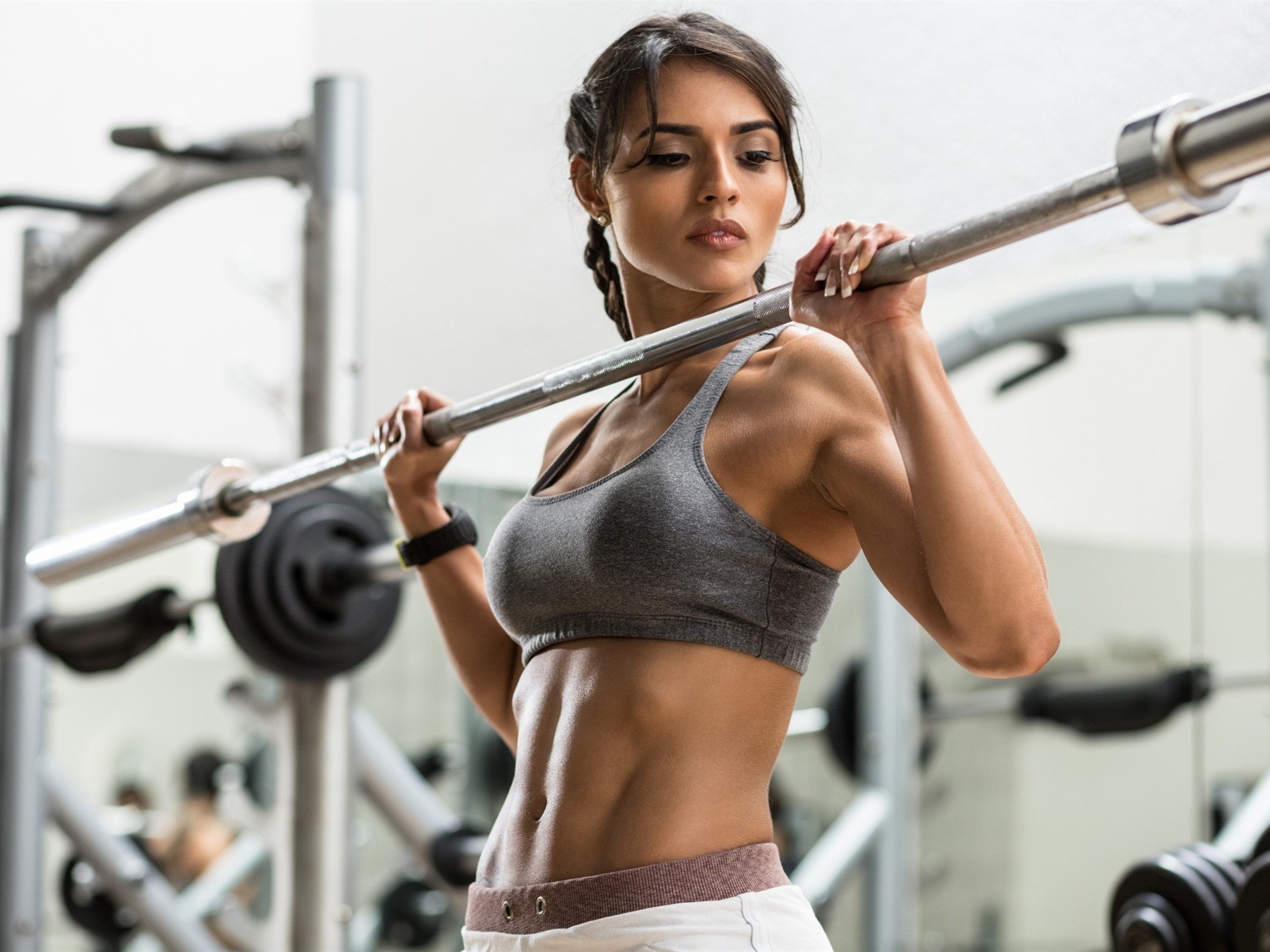 Wallpaper Fitness girl, gym, hands, look, sport 1920x1440 HD Picture, Image