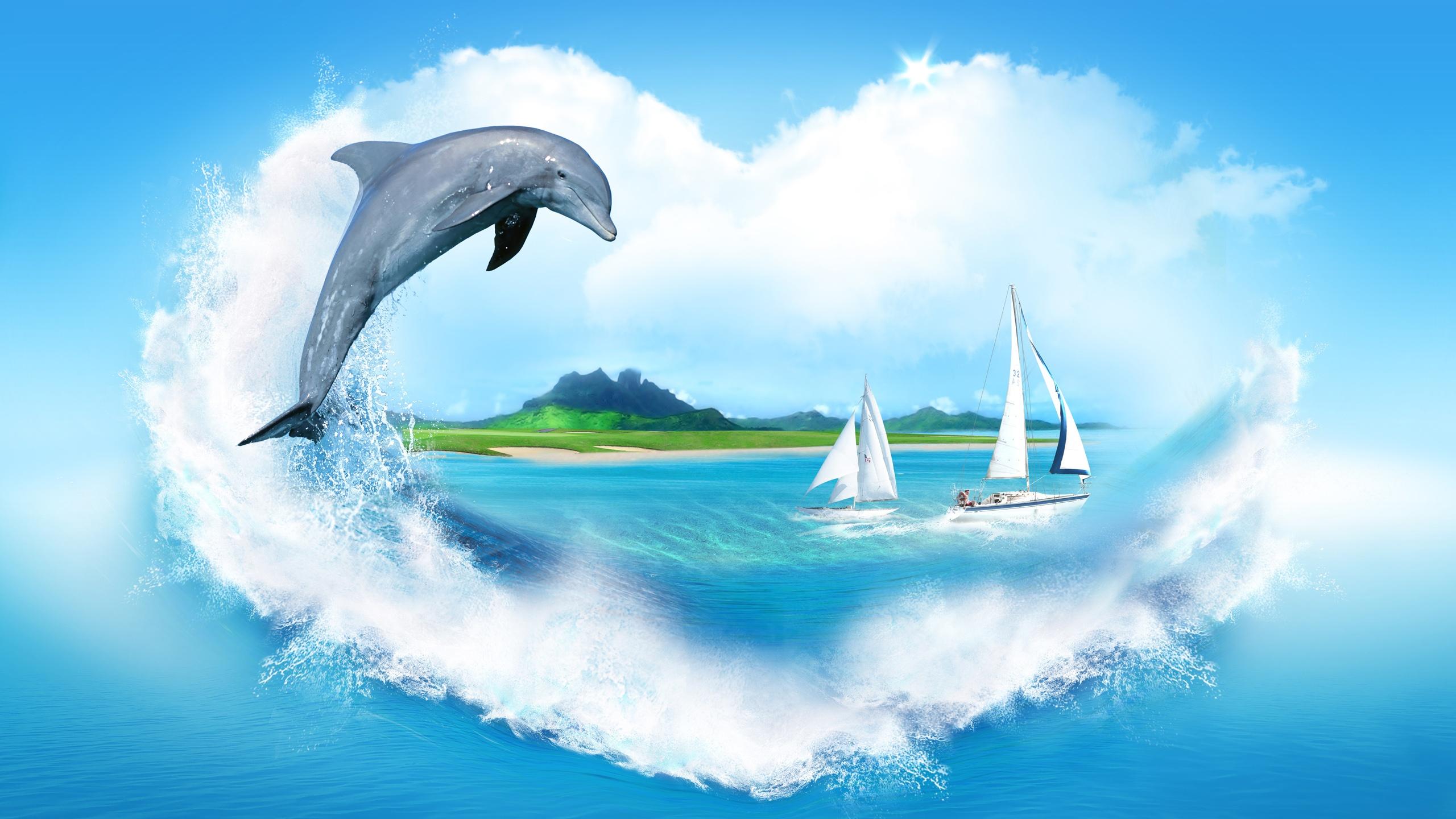 обои широкоформатные на рабочий стол бесплатно море и дельфины № 217009 бесплатно