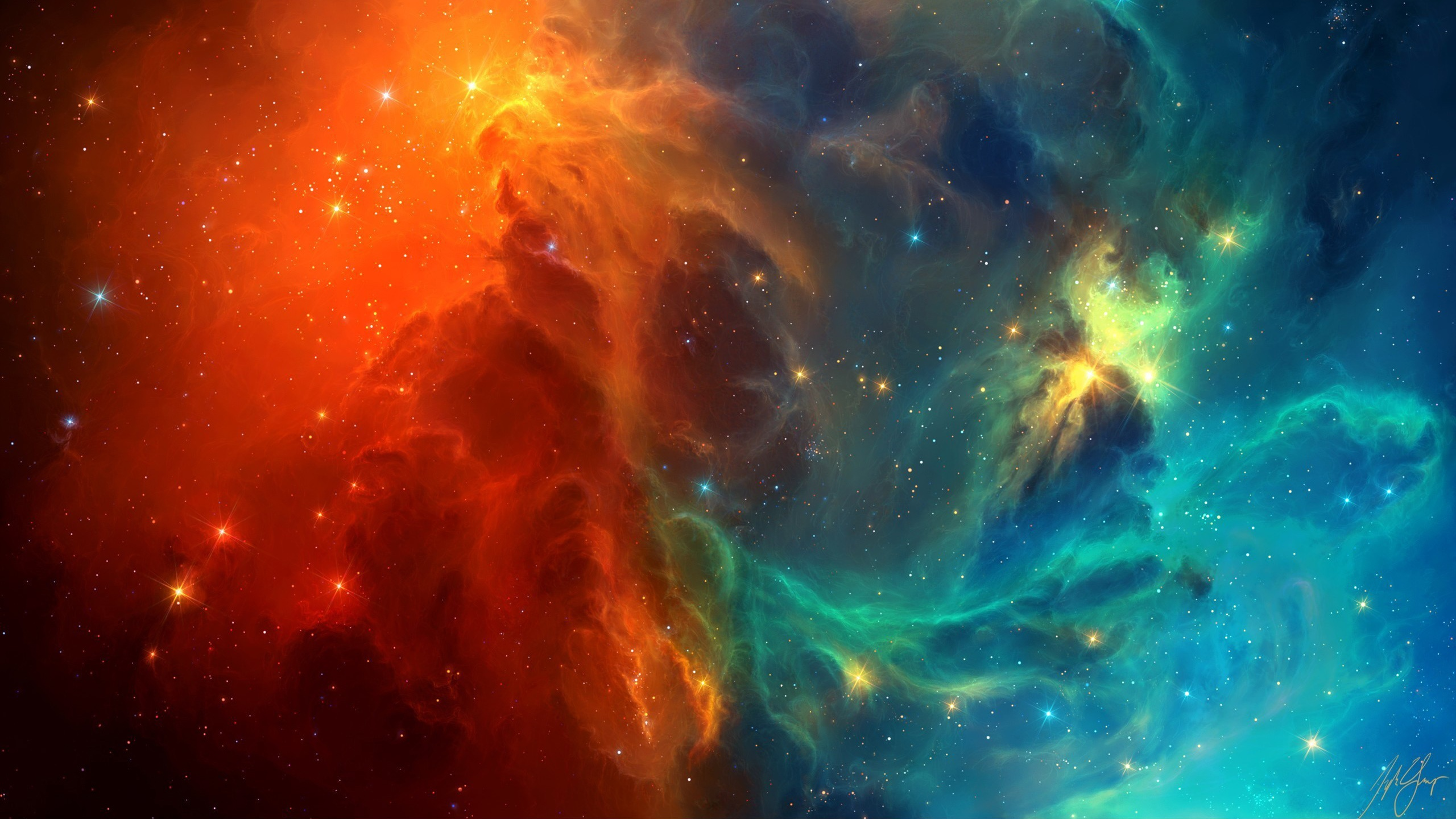 Wallpaper space nebula blue and red galaxies 2560x1440 - Space 2560 x 1440 ...