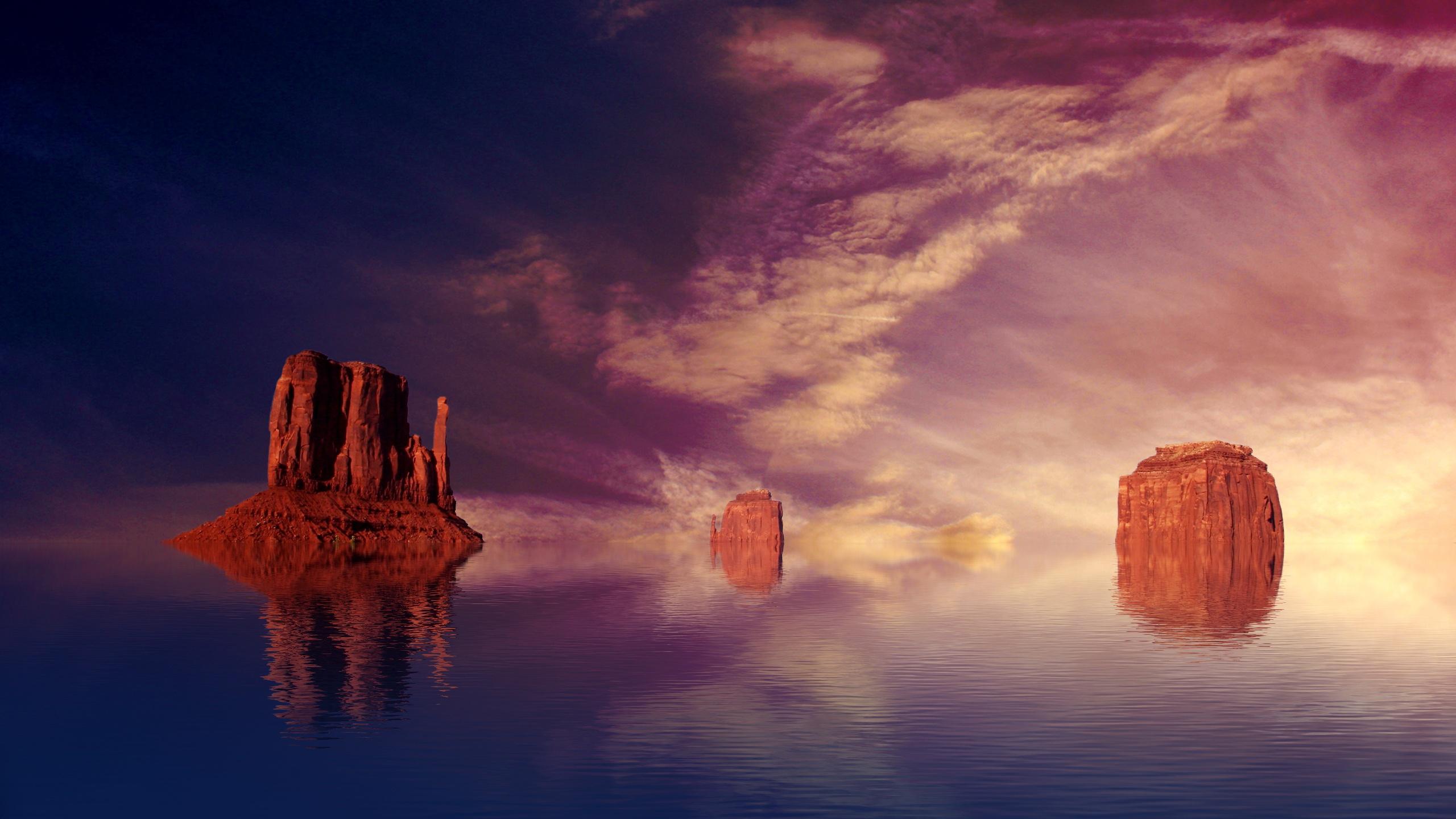 wallpaper 2560x1440 water mountains - photo #33