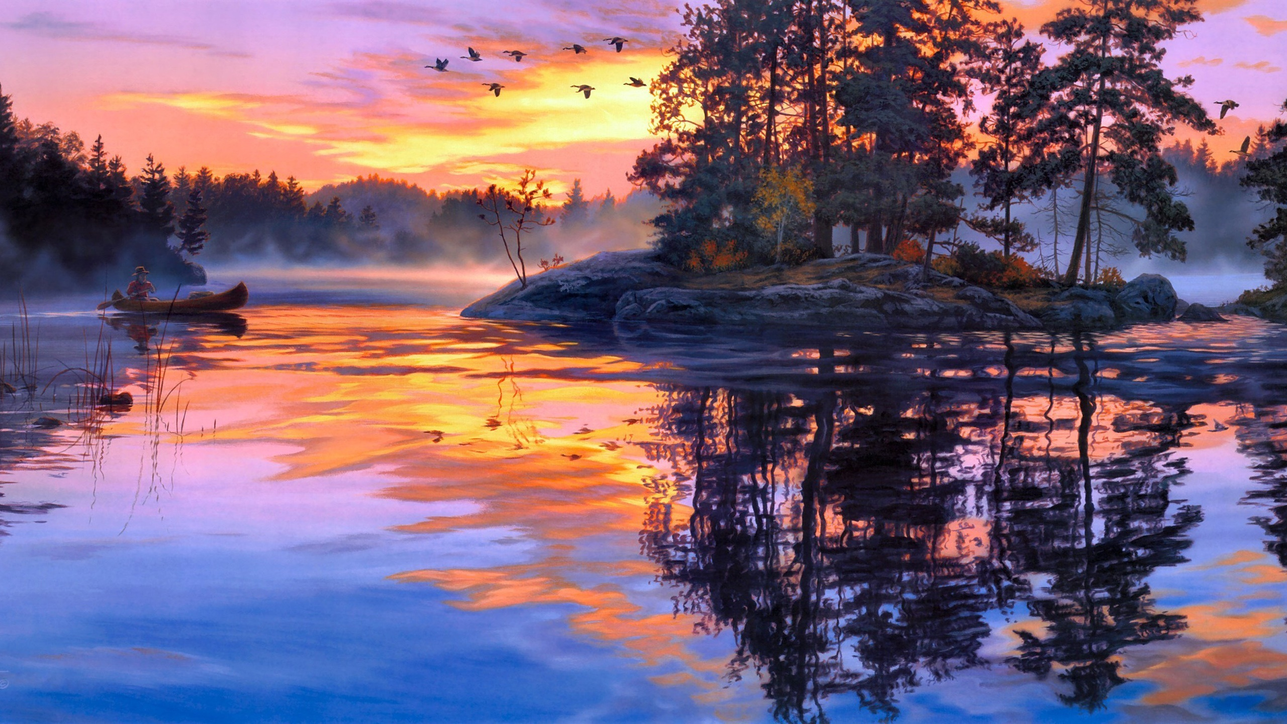 Fonds Décran Peinture Dart Crépuscule Paysage Lac Forêt