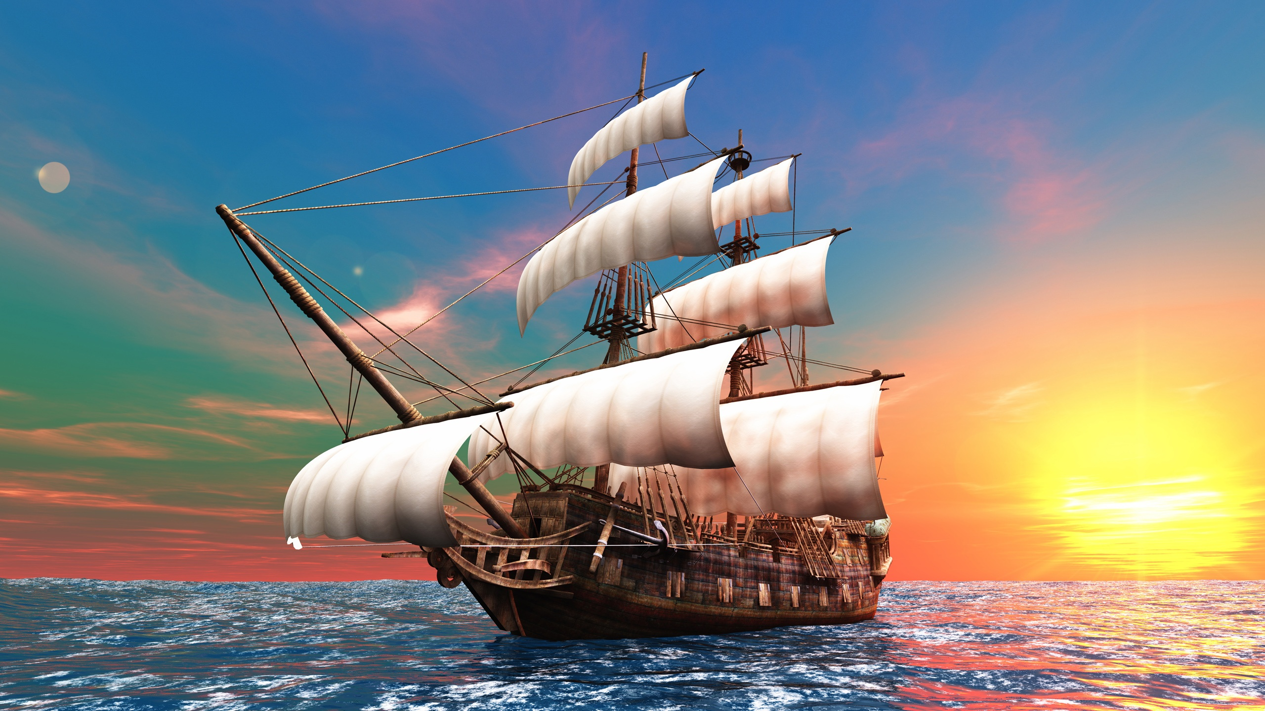 3d创意设计图片,帆船,黎明,海图片