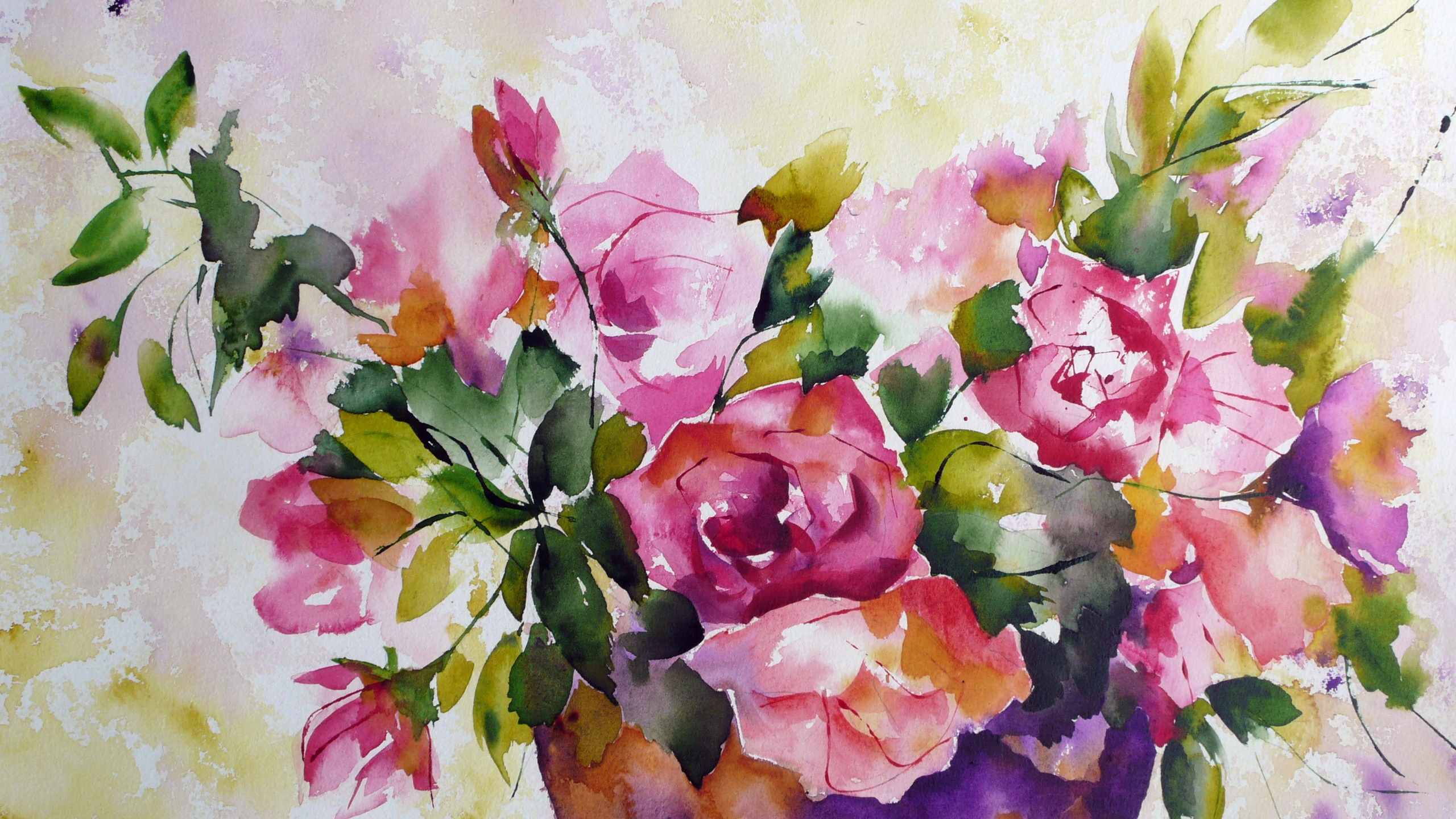 wallpaper watercolor painting of flowers 2560x1600 hd picture image