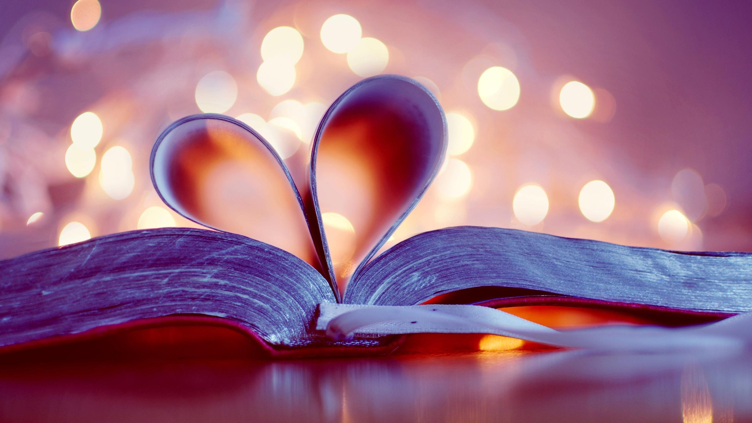 book bookmark love heart blurred background wallpaper