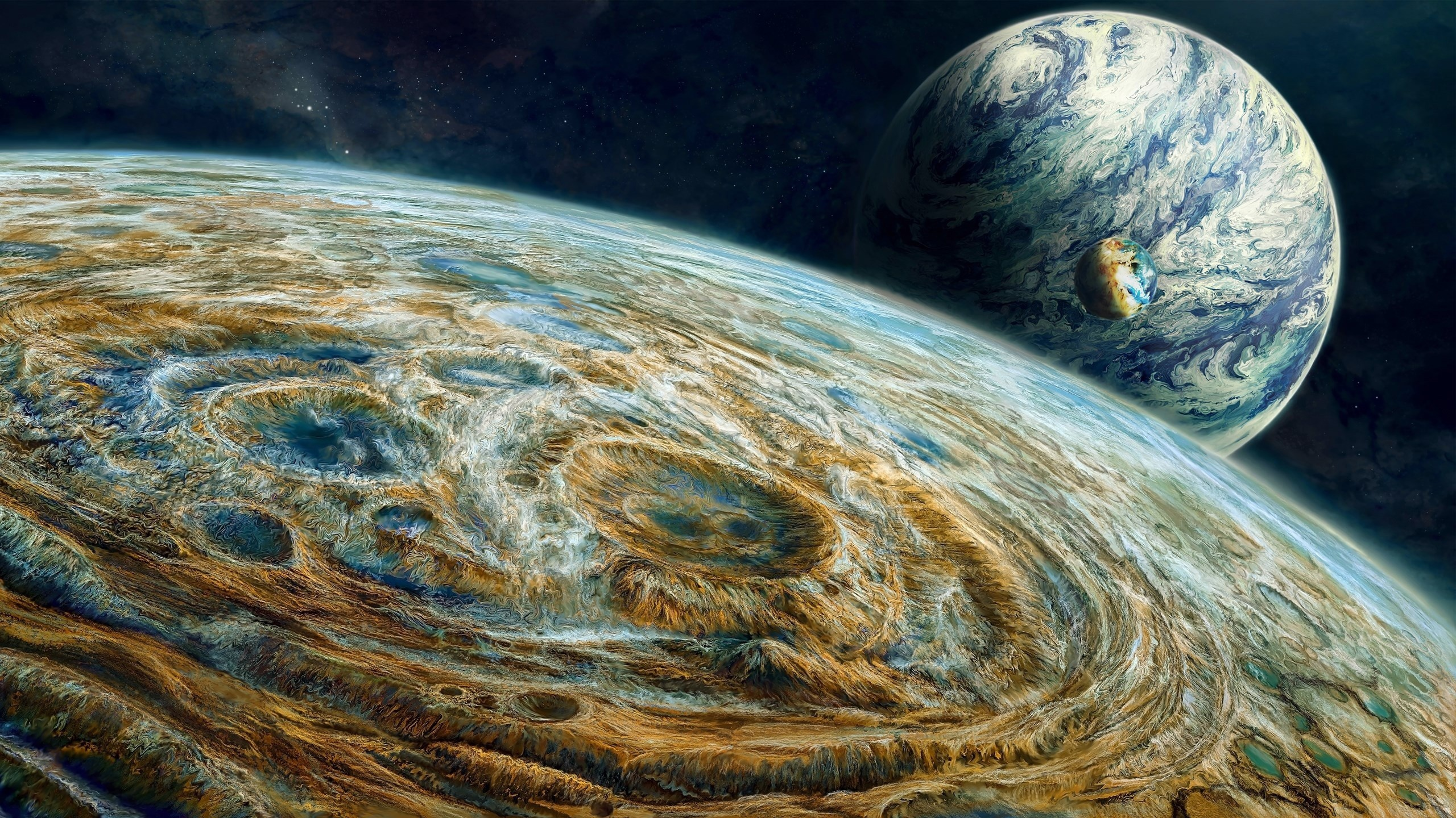 Wallpaper three planets in the space creative painting - Space 2560 x 1440 ...