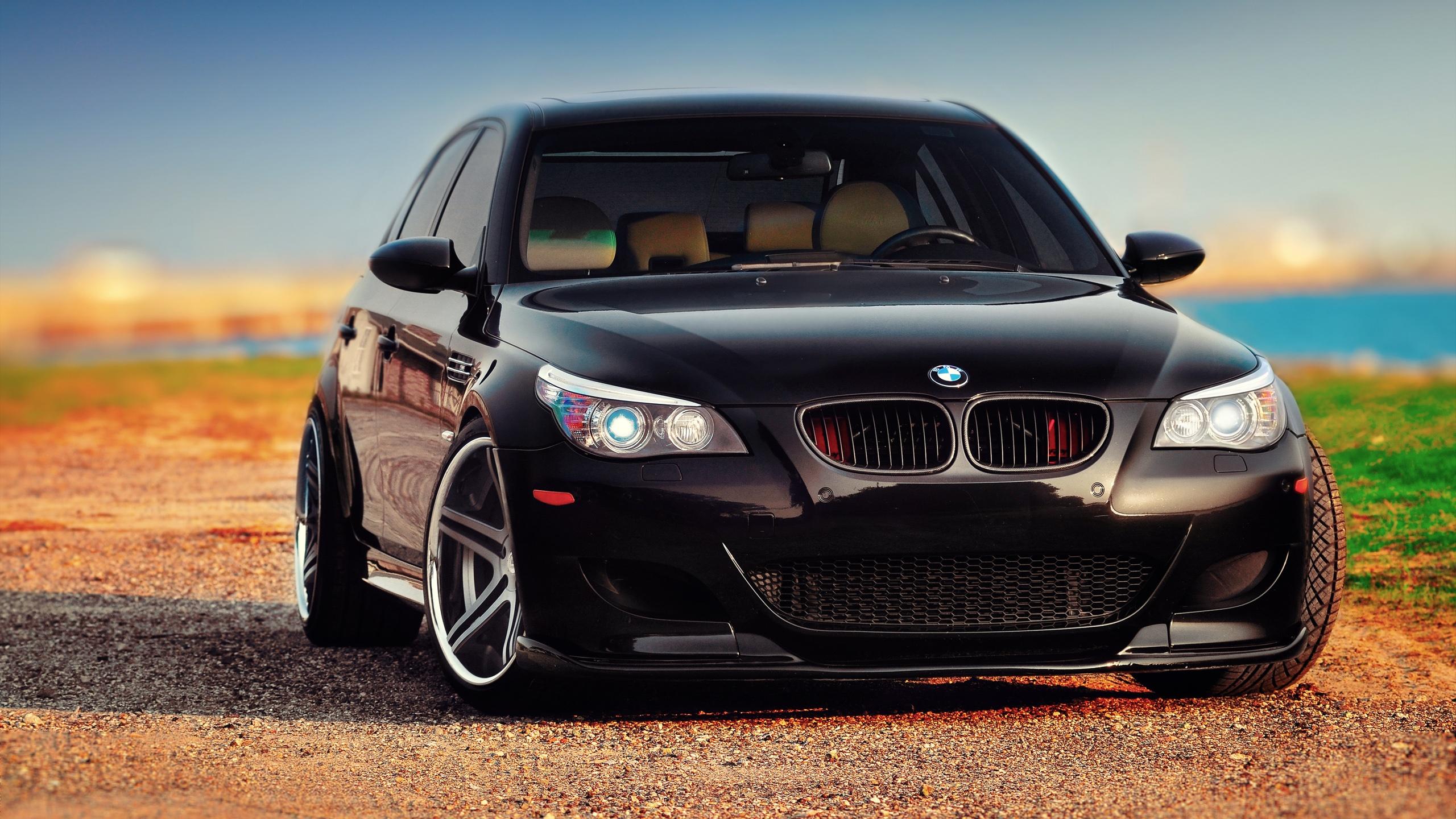 Wallpaper BMW M5 E60 black car front view 2560x1600 HD ...