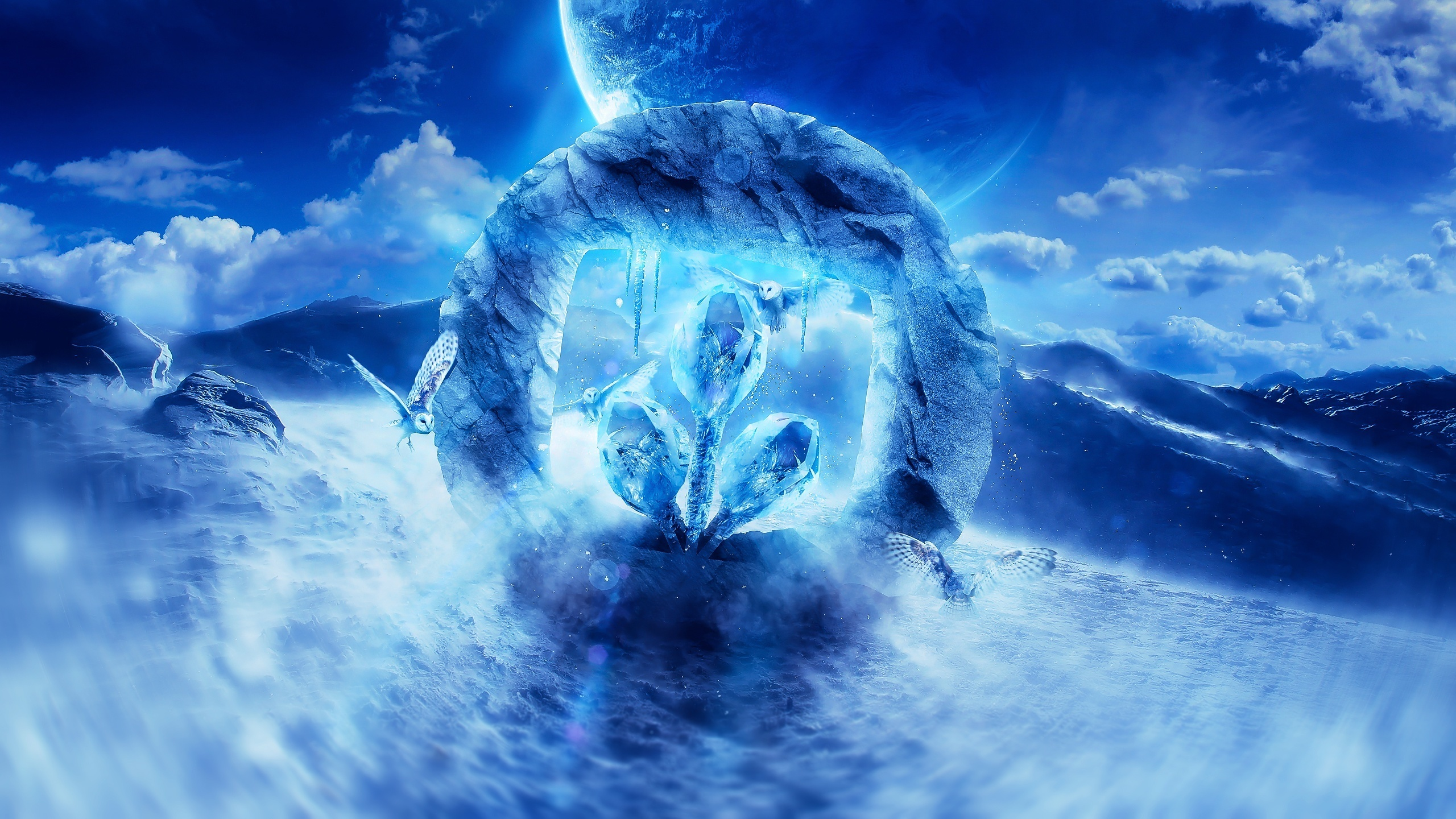 Desktopography logo, digital art, owl, planet, sea, blue