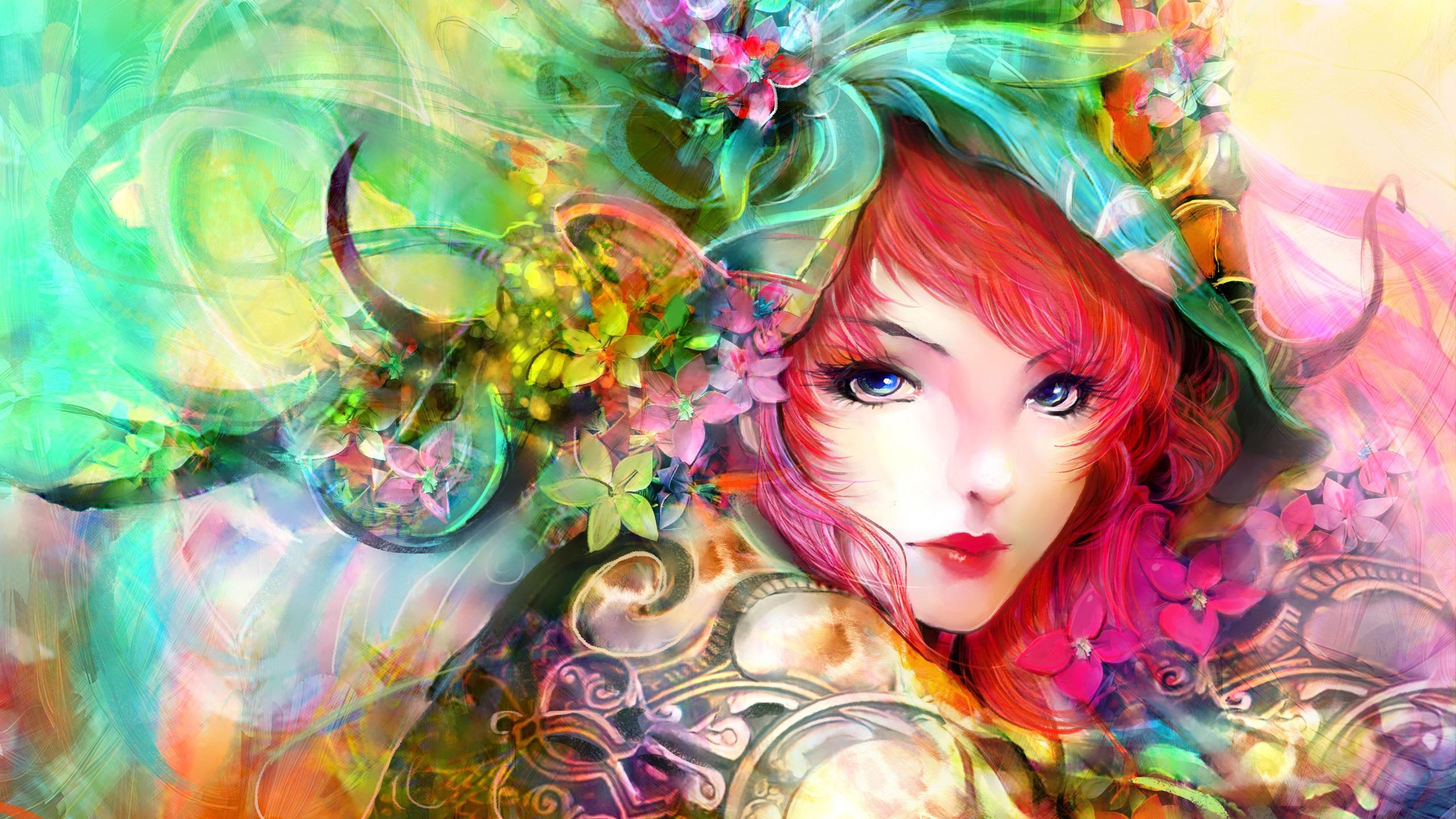 Kunst Malerei, Mädchen, Augen, Gesicht, Blumen, rote Haare, bunte ...: https://de.best-wallpaper.net/Art-painting-girl-eyes-face-flowers-red-hair-colorful_2560x1440.html