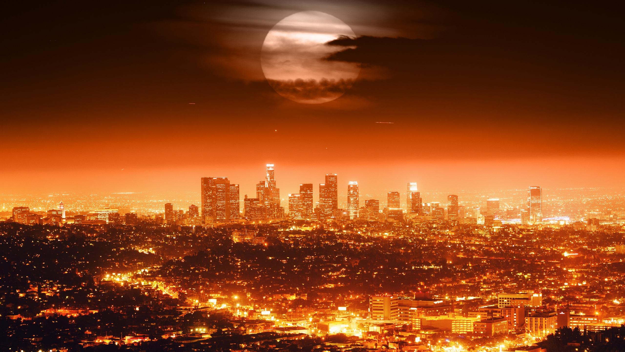 Papeis De Parede Lua Cheia Eua Los Angeles Noite Cidade Luzes