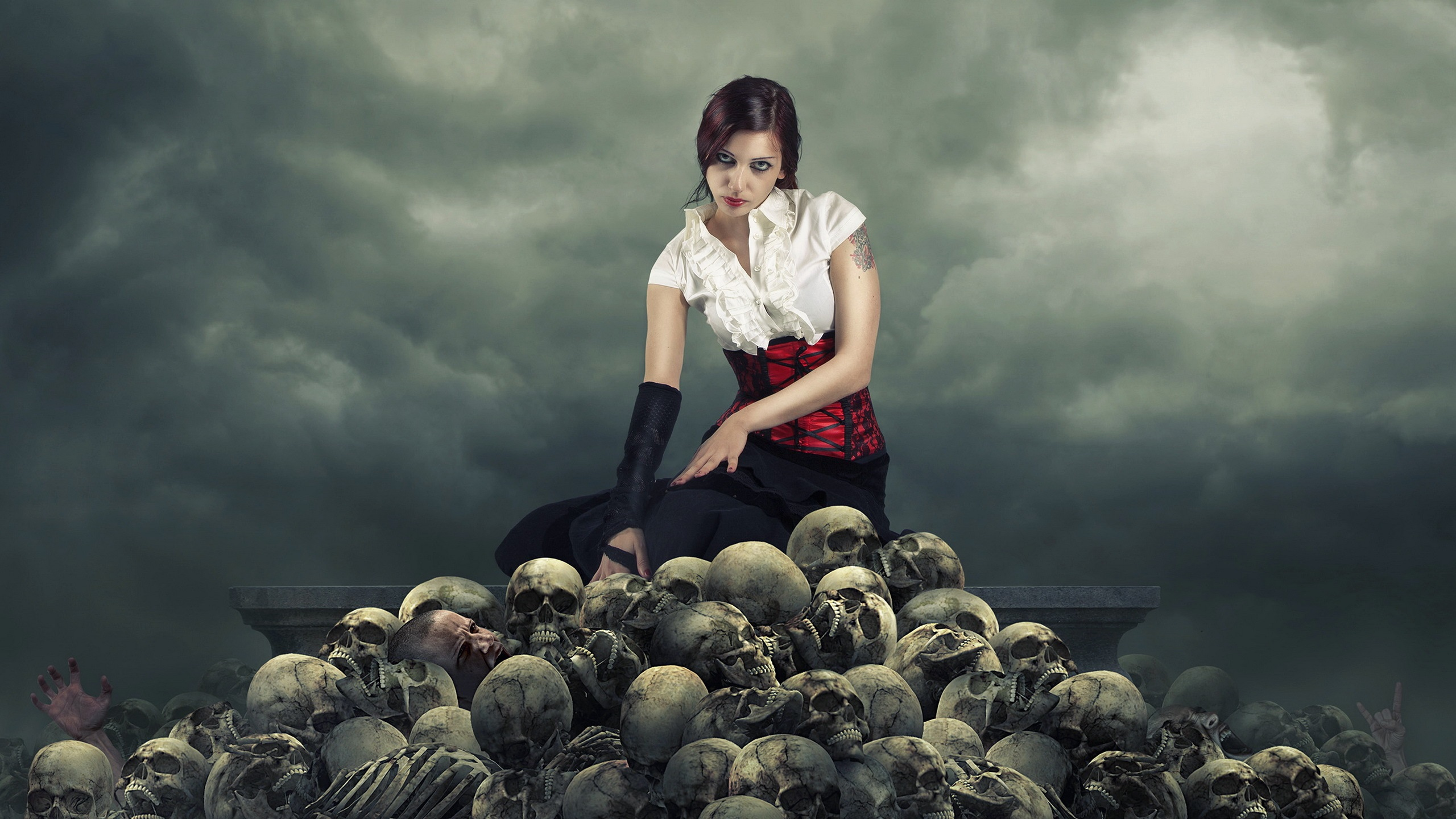 Wallpaper Creative pictures, girl, skull 2560x1440 QHD