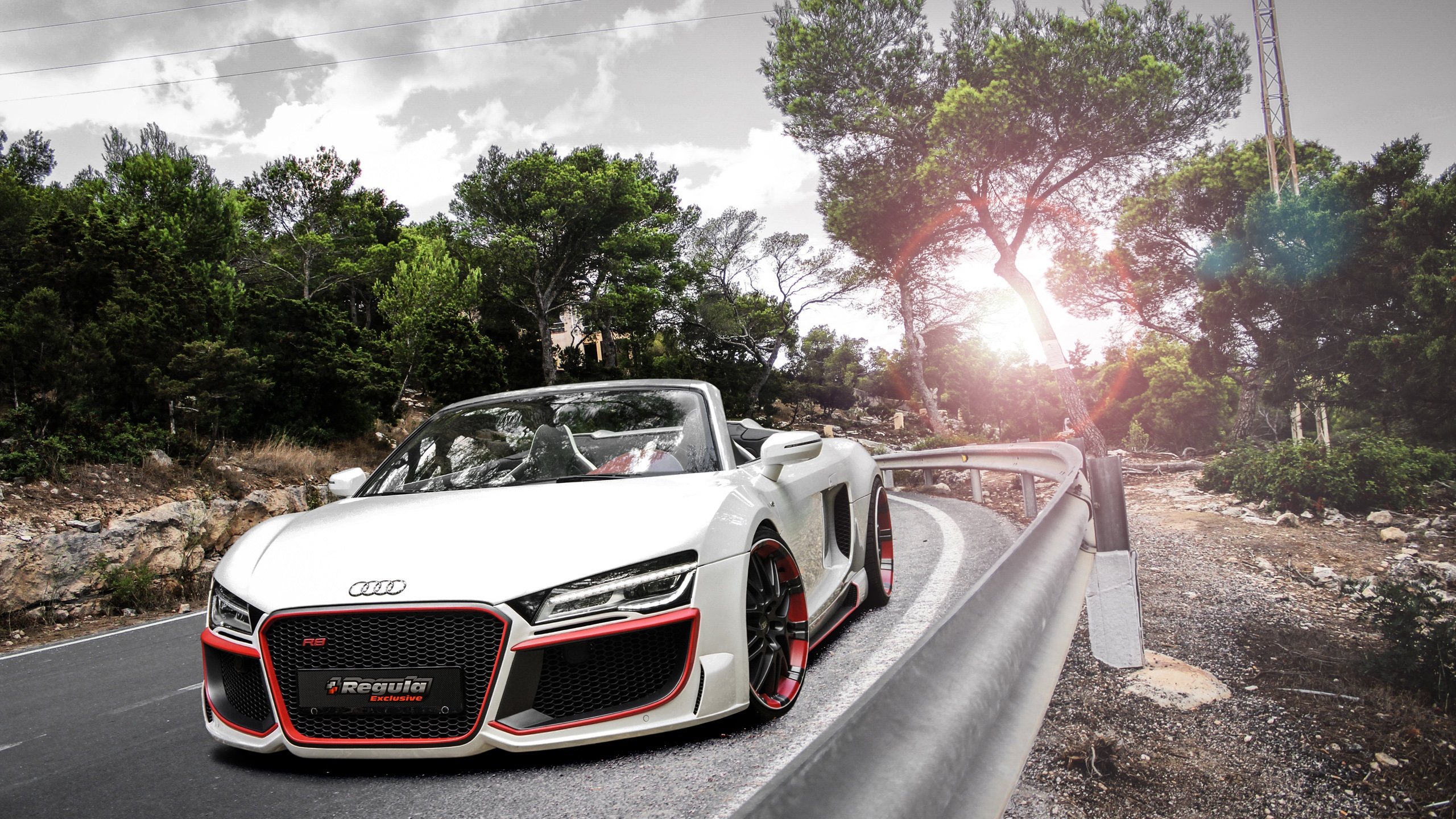 Cars Audi Roads R8 White V10 Wallpaper Allwallpaper In: Fonds D'écran Audi R8 Voiture Blanc, Coucher De Soleil