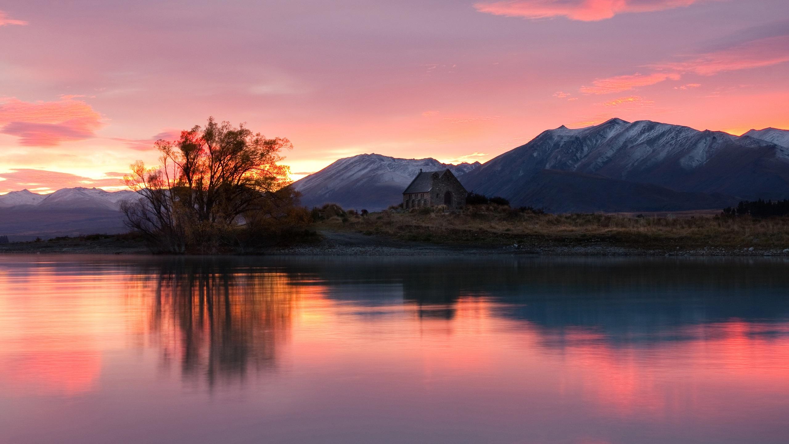 Fonds d'écran Nouvelle-Zélande, le lever du soleil, maison ...