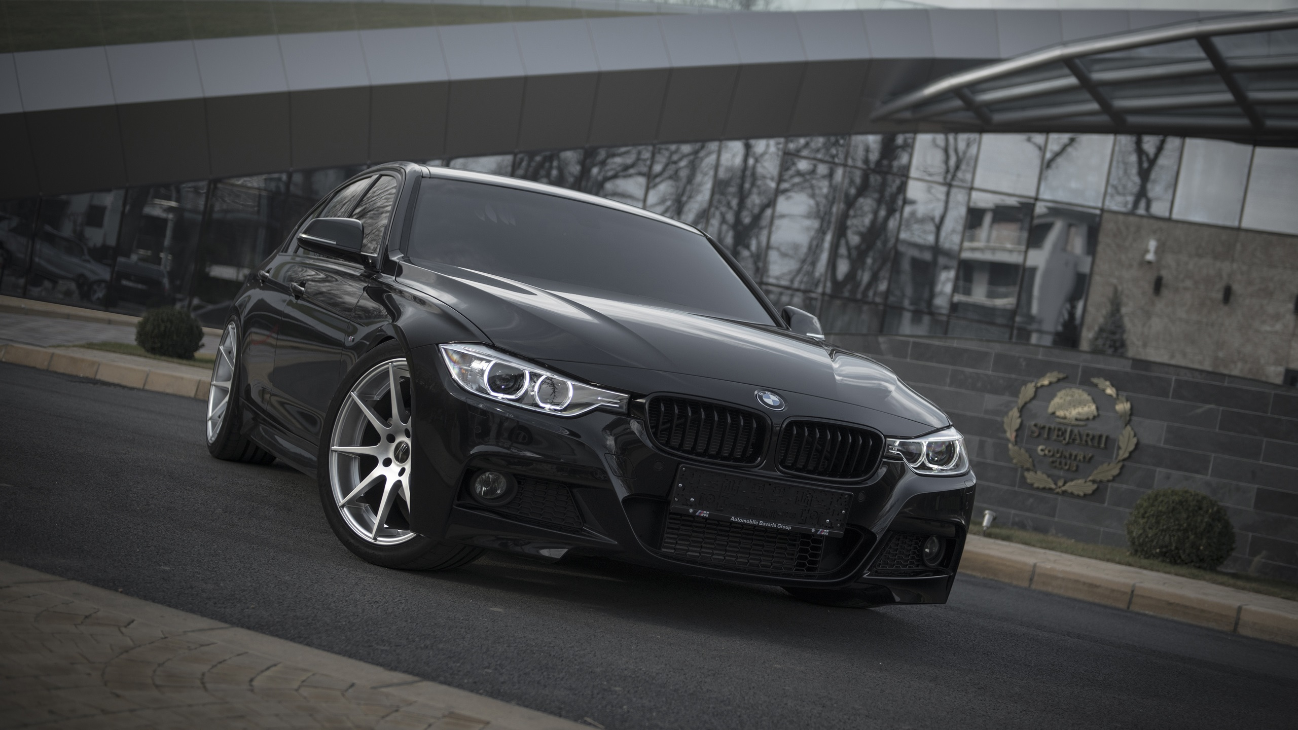 Wallpaper Bmw F30 Black Car Front View 2560x1600 Hd Picture Image