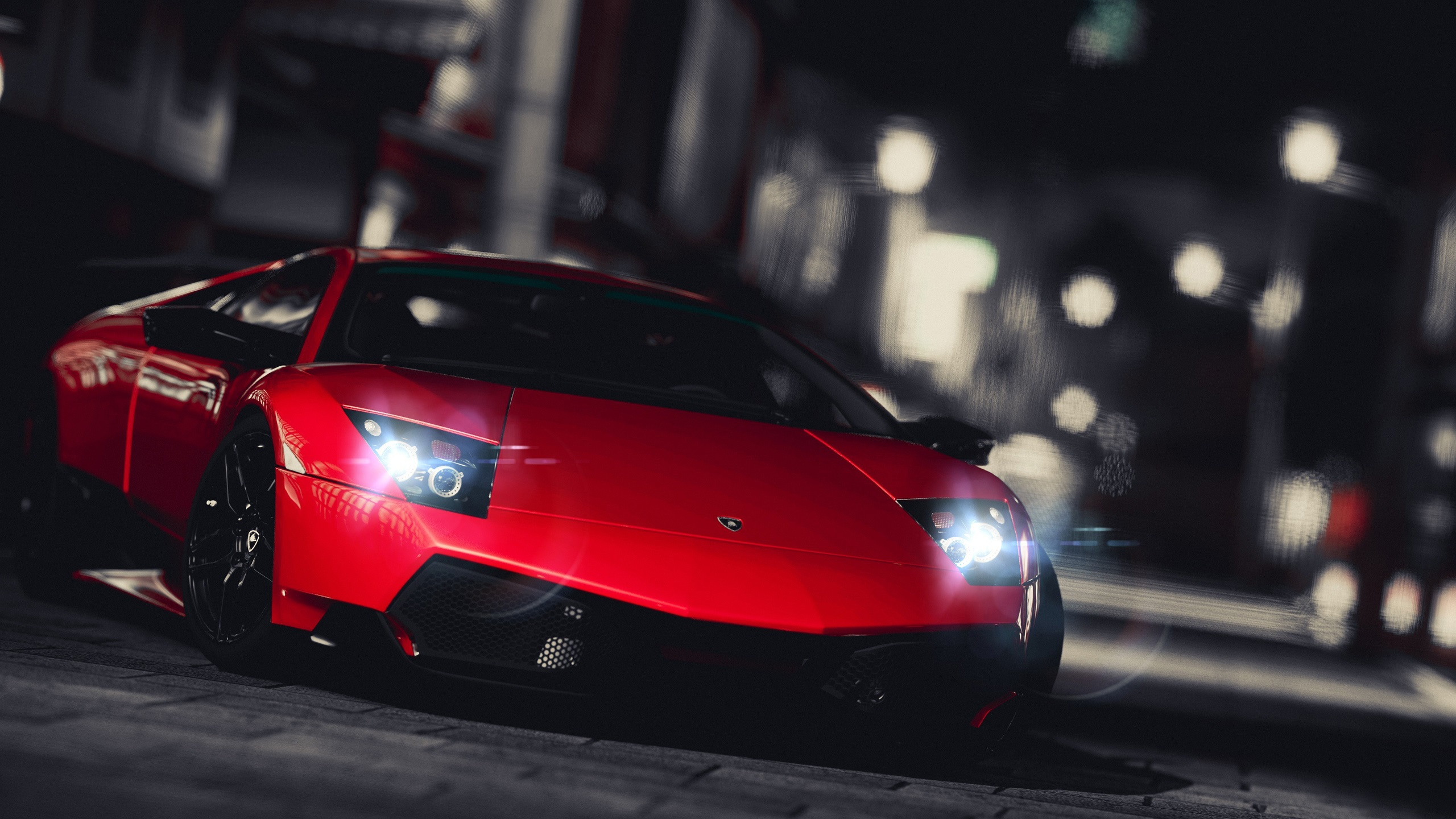 Red Lamborghini Supercar Front View City Night Wallpaper