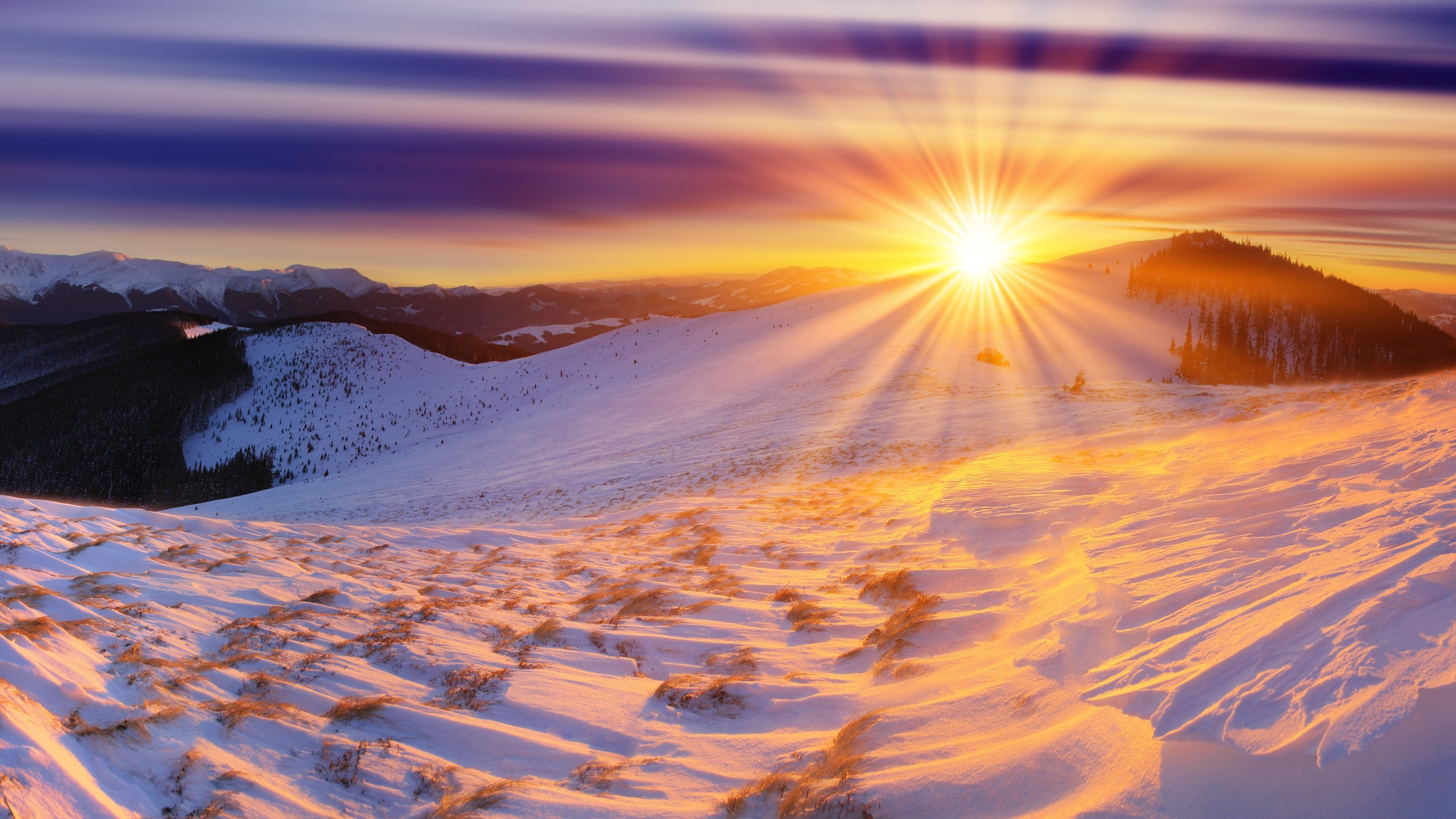 Download Wallpaper 2560x1440 Winter, sunrise, mountains ...