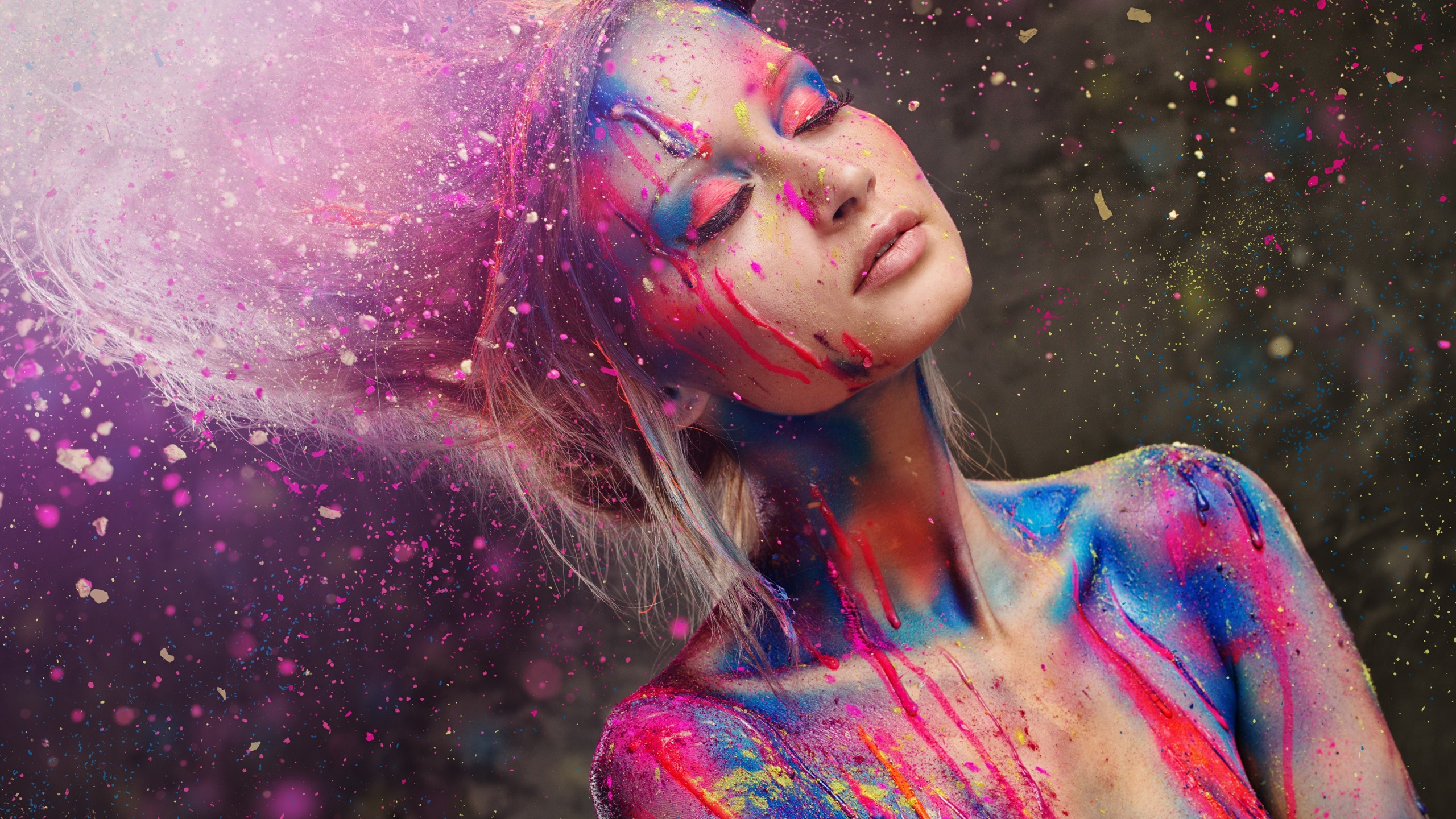 Wallpaper Beautiful Girl Fashion Style Paint Colorful