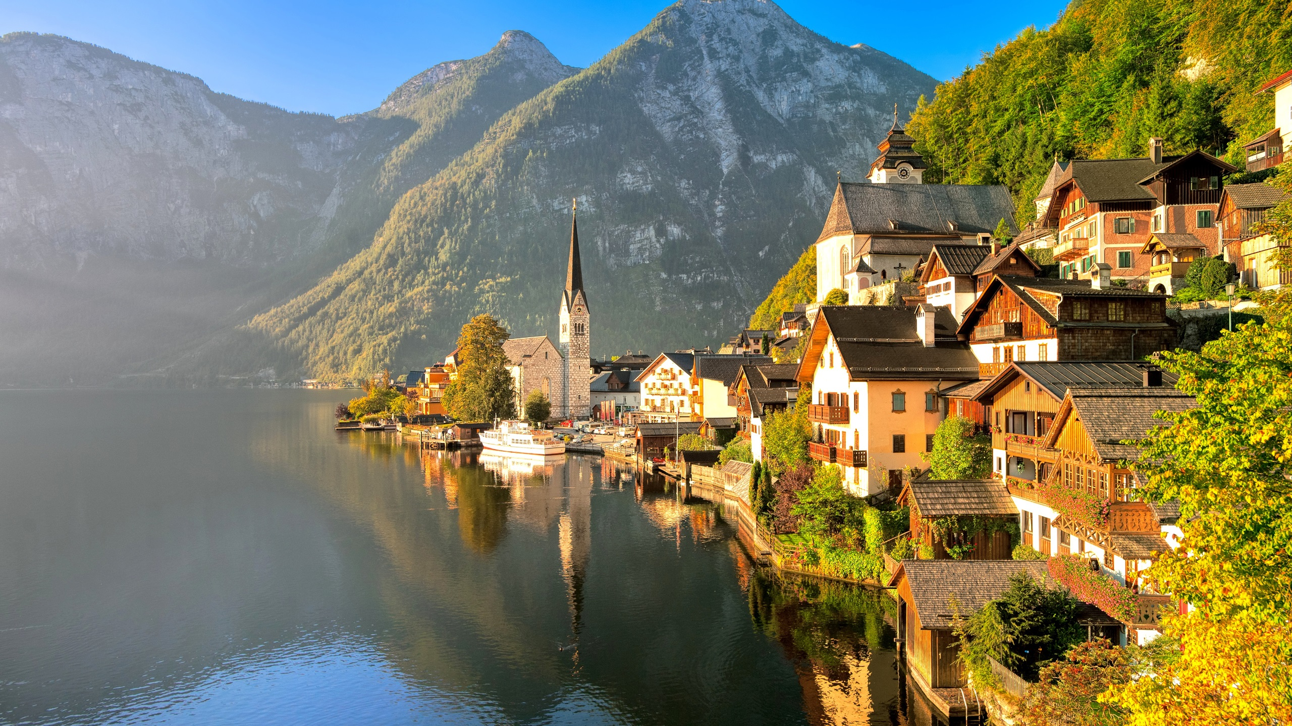 Wallpaper Austria, Hallstatt, Salzkammergut, autumn, house, lake,  mountains, sunlight 2560x1600 HD Picture, Image