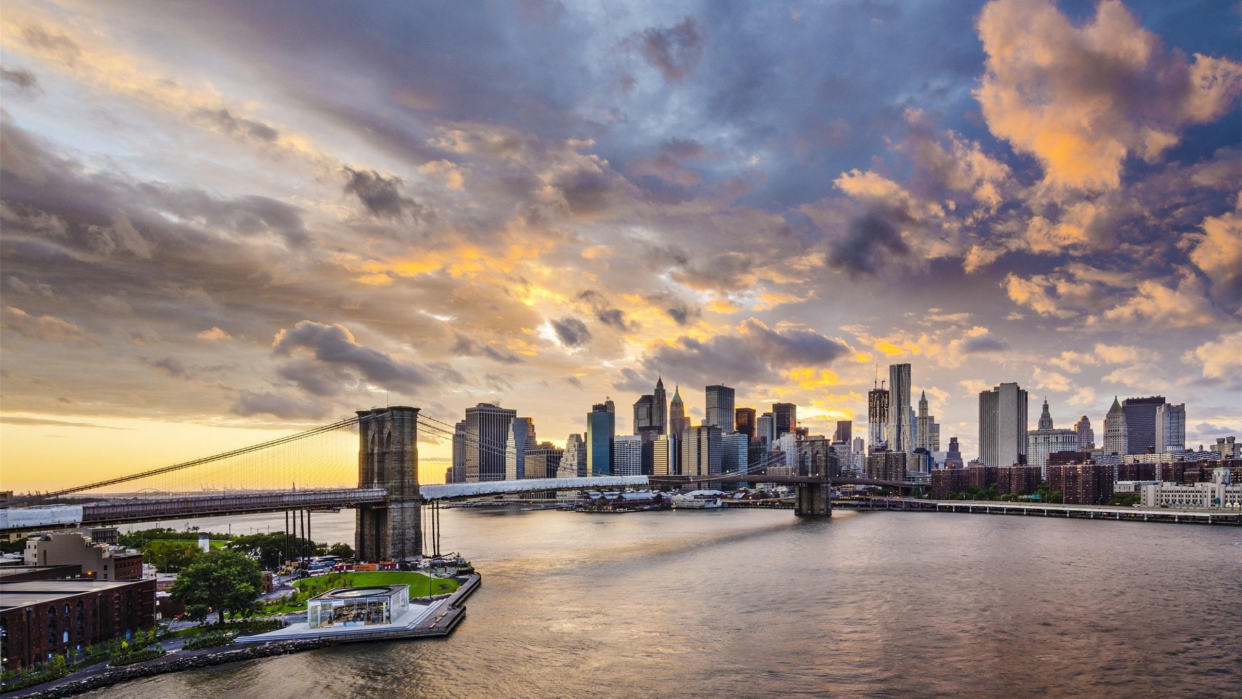 Pont de brooklyn manhattan new york city gratte ciel for Fond ecran qhd