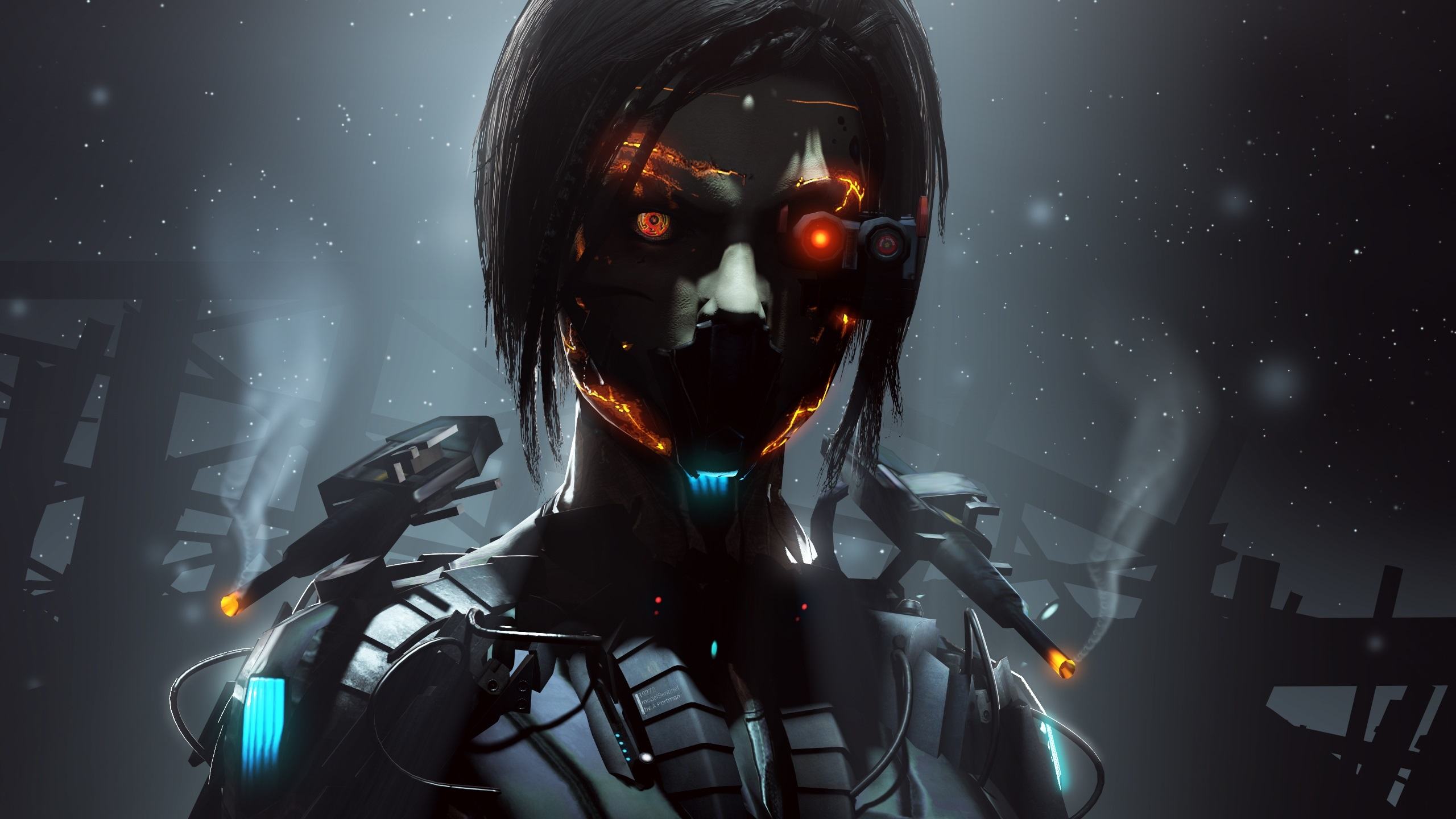 wallpaper cyborg, robot, girl, fantasy, creative pictures 2560x1440