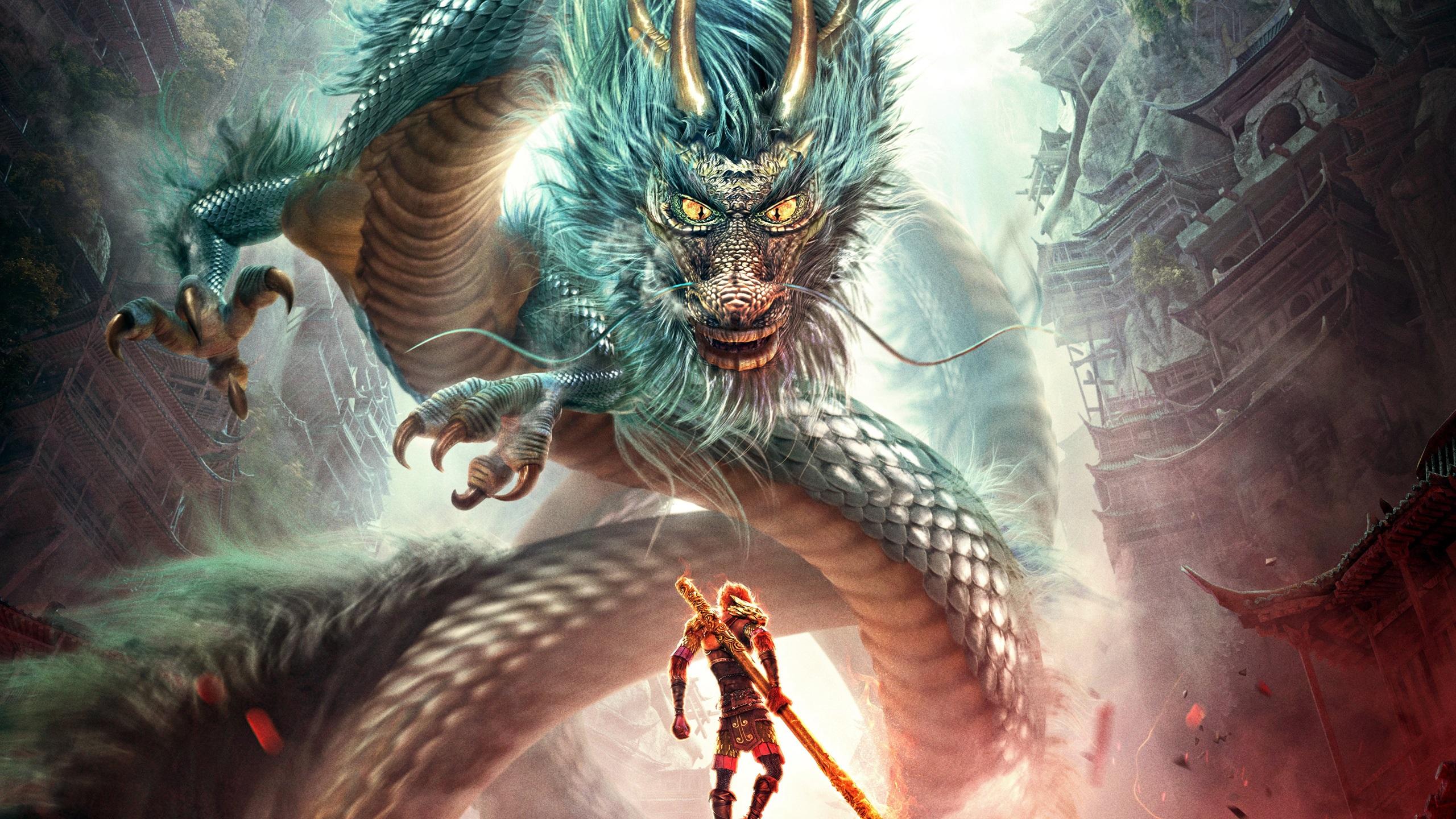 monkey king hero is back fight dragon wallpaper