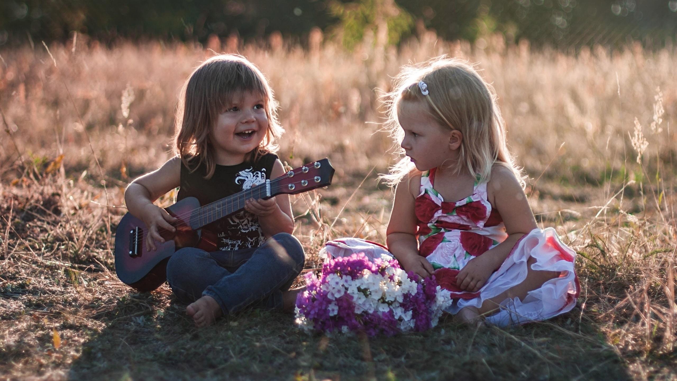 wallpaper children, cute girls, guitar 2560x1440 qhd picture, image